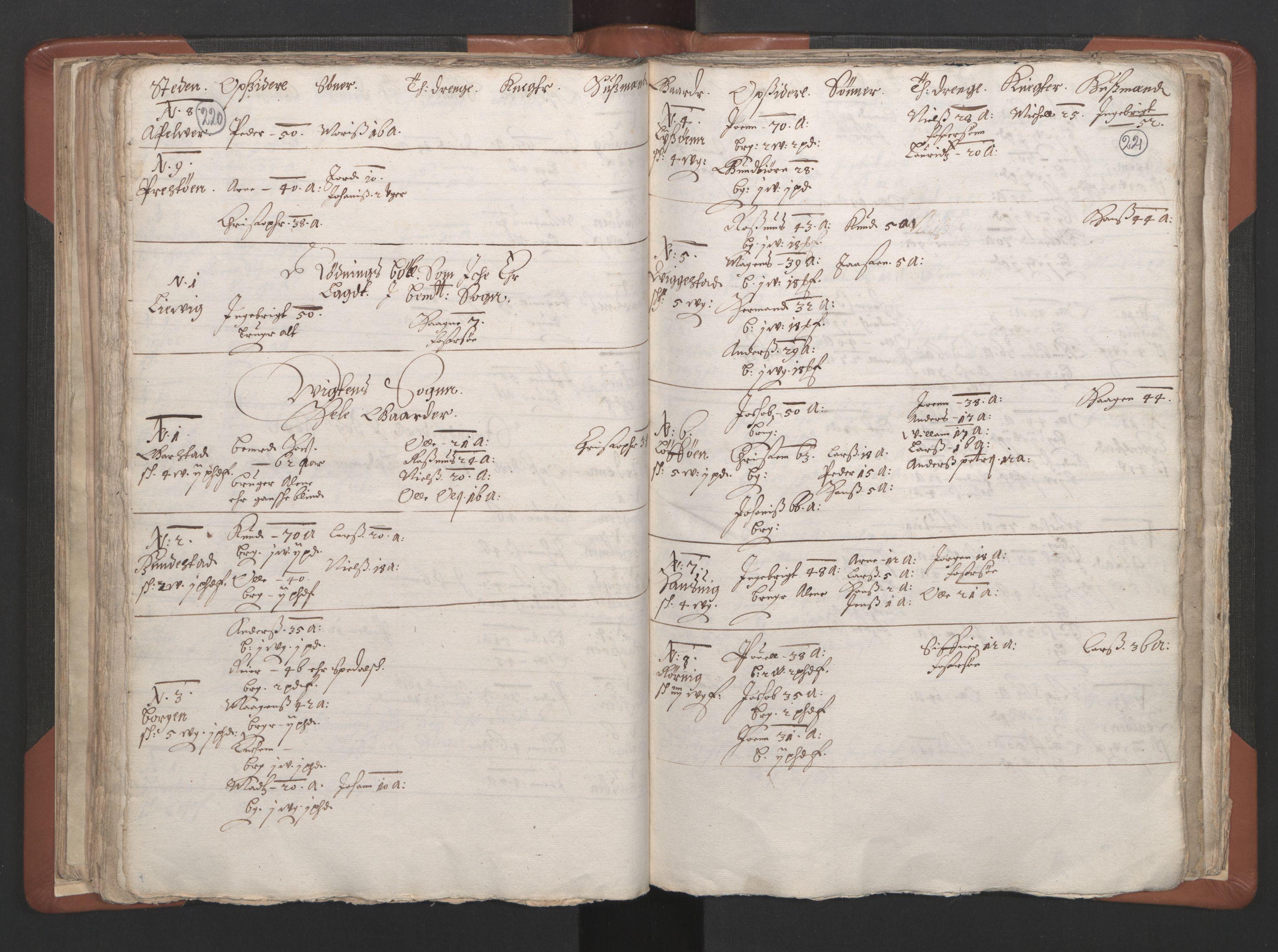 RA, Sogneprestenes manntall 1664-1666, nr. 34: Namdal prosti, 1664-1666, s. 220-221