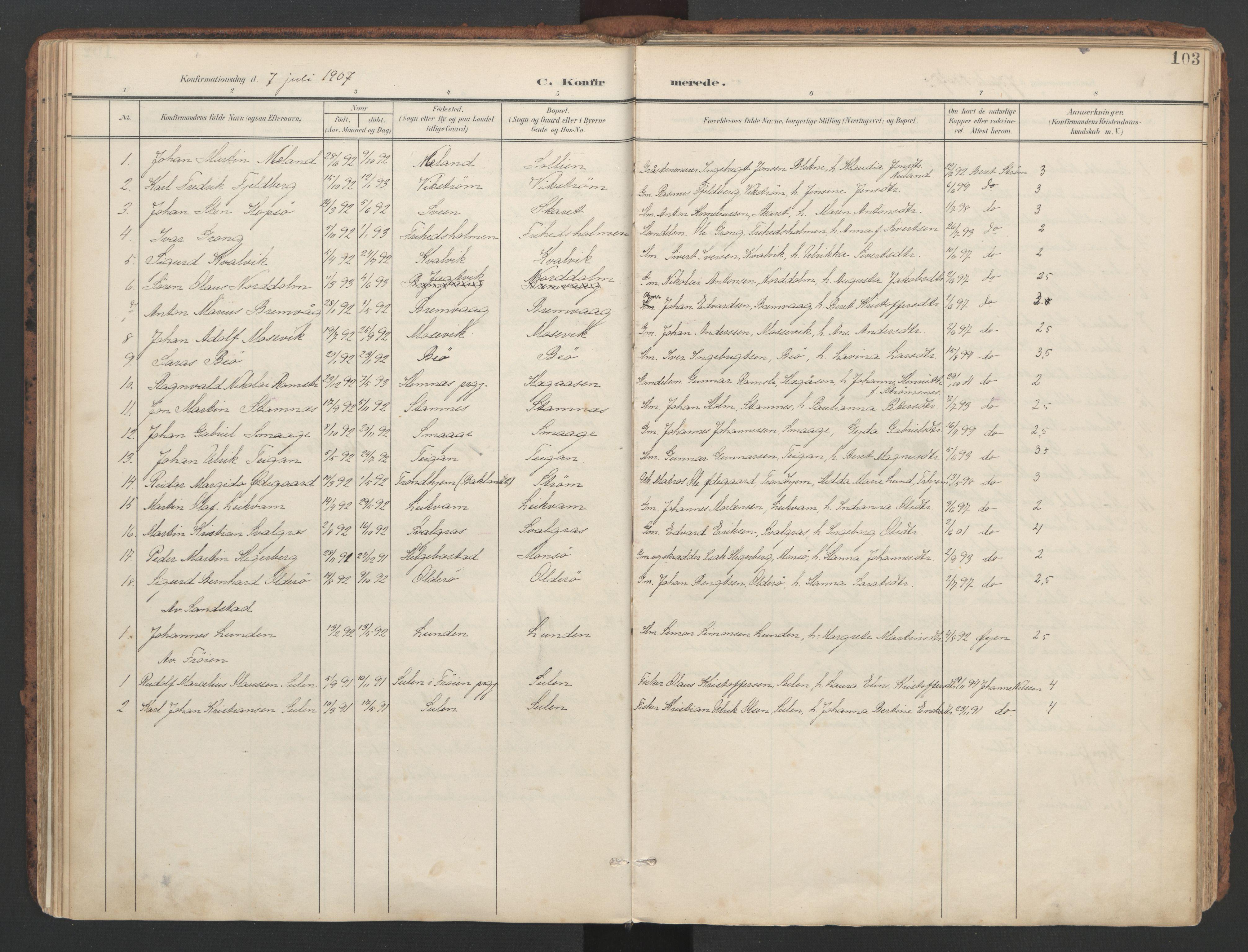 SAT, Ministerialprotokoller, klokkerbøker og fødselsregistre - Sør-Trøndelag, 634/L0537: Ministerialbok nr. 634A13, 1896-1922, s. 103