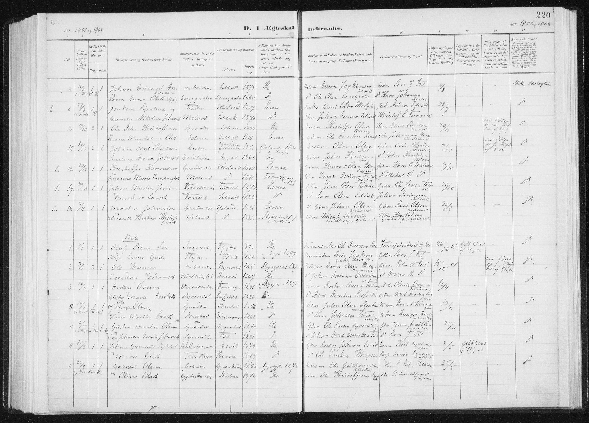 SAT, Ministerialprotokoller, klokkerbøker og fødselsregistre - Sør-Trøndelag, 647/L0635: Ministerialbok nr. 647A02, 1896-1911, s. 220