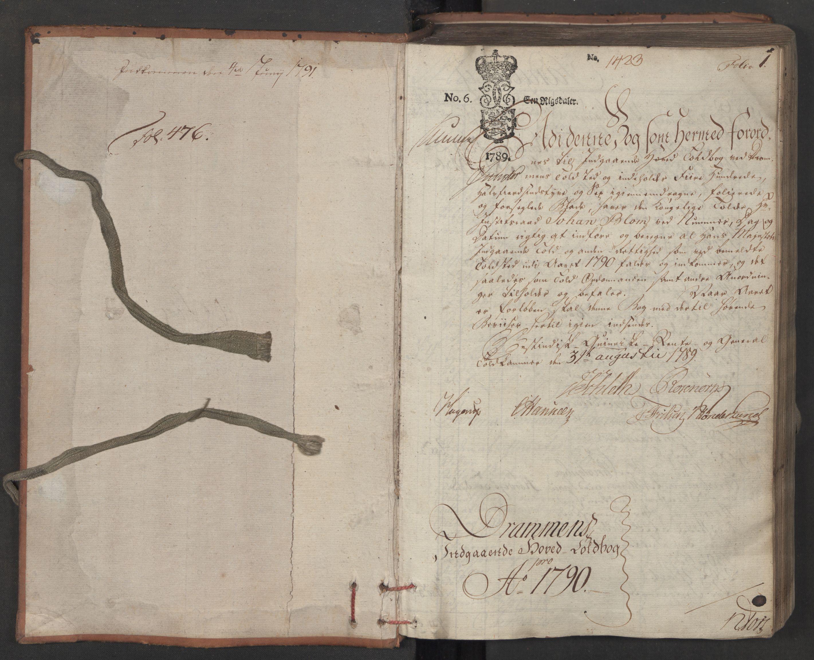 RA, Generaltollkammeret, tollregnskaper, R08/L0158: Tollregnskaper Drammen, 1790, s. 1