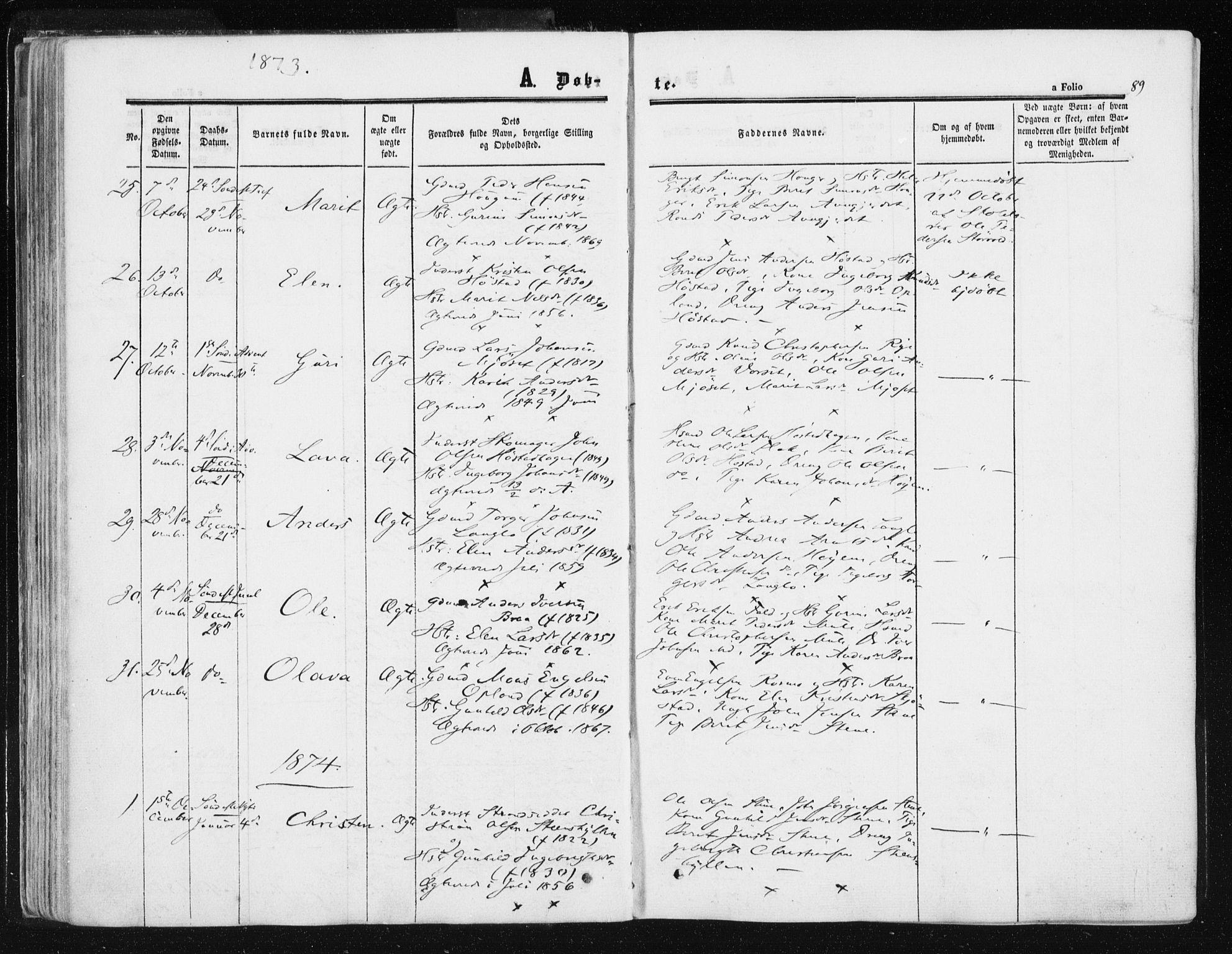 SAT, Ministerialprotokoller, klokkerbøker og fødselsregistre - Sør-Trøndelag, 612/L0377: Ministerialbok nr. 612A09, 1859-1877, s. 89