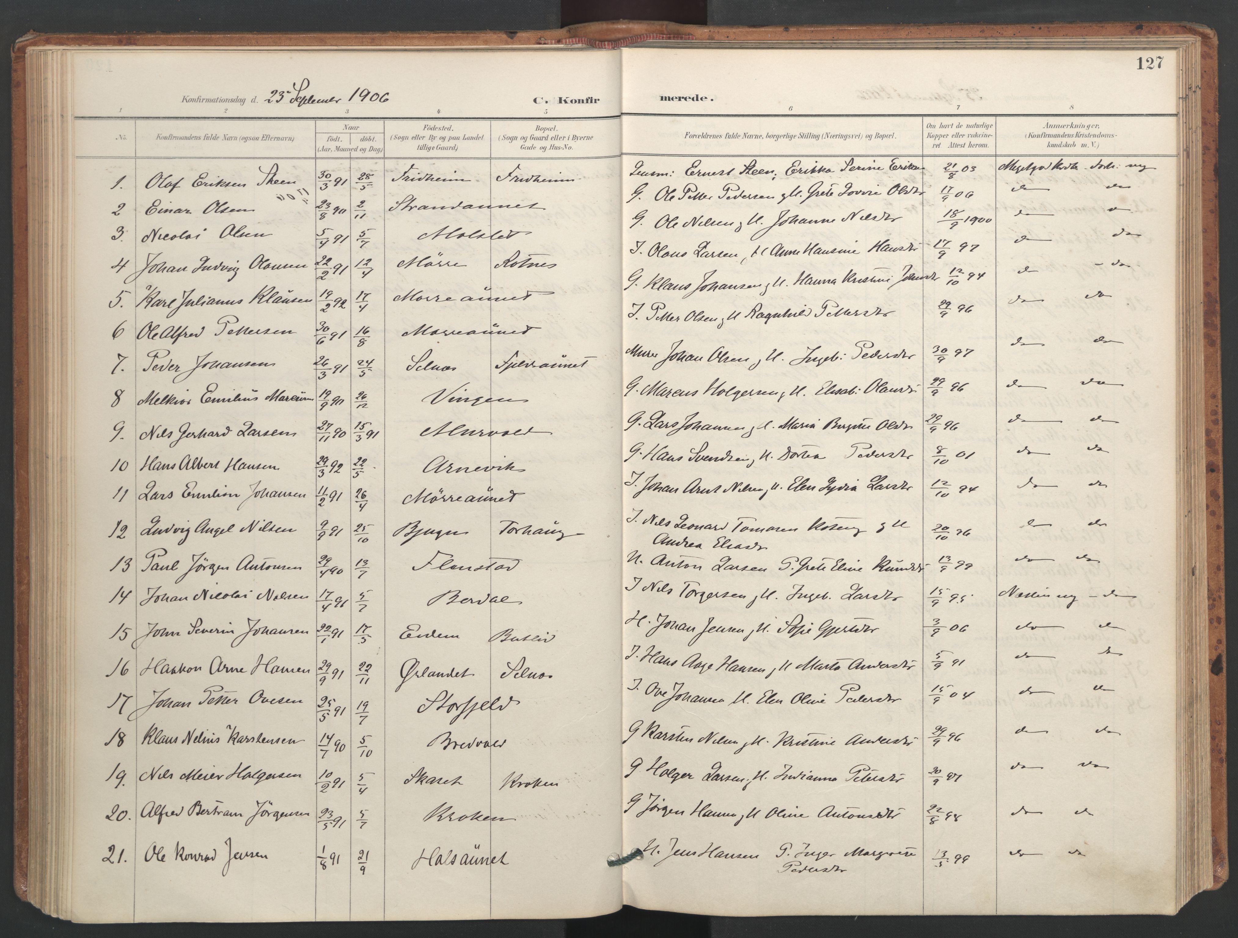 SAT, Ministerialprotokoller, klokkerbøker og fødselsregistre - Sør-Trøndelag, 655/L0681: Ministerialbok nr. 655A10, 1895-1907, s. 127