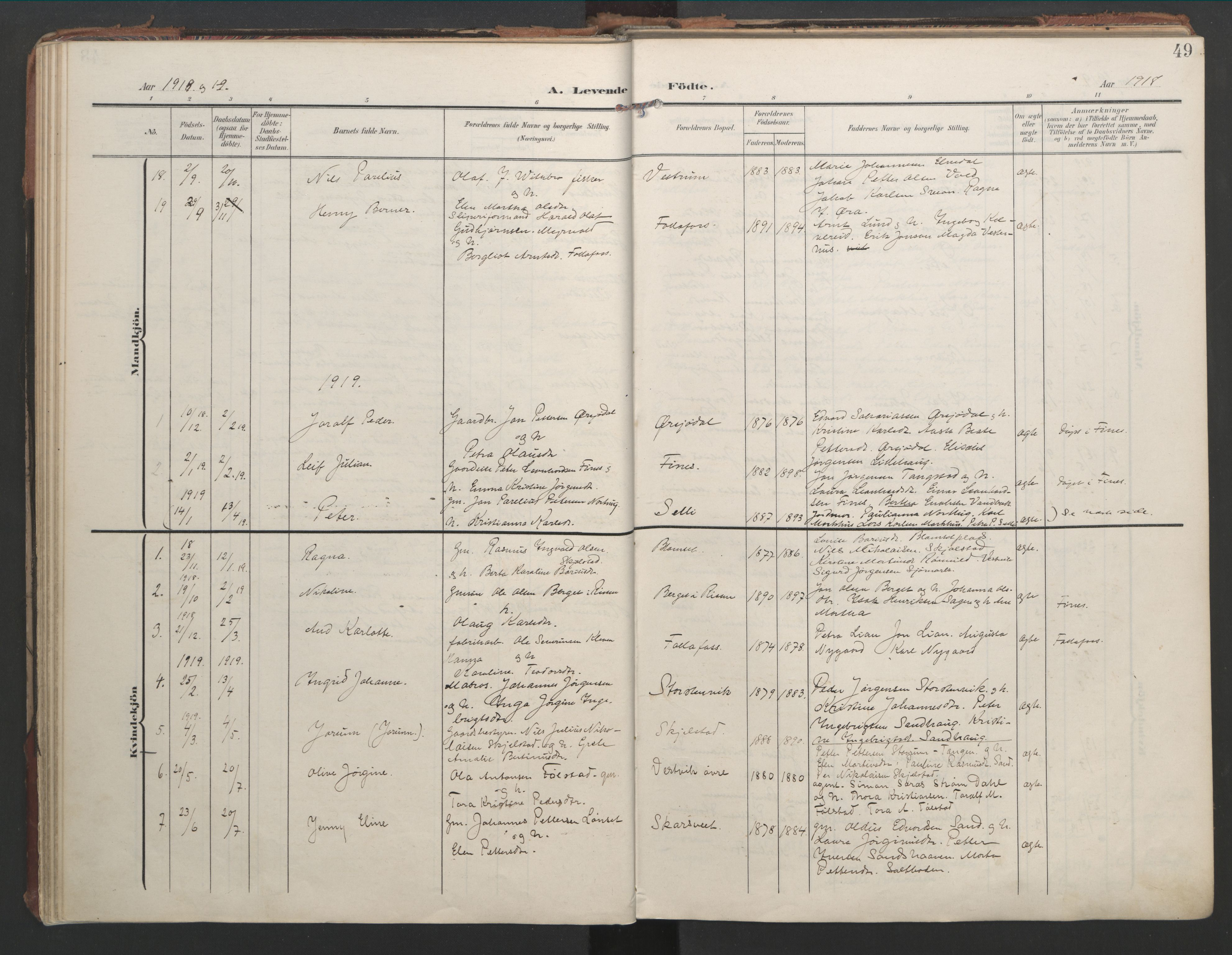 SAT, Ministerialprotokoller, klokkerbøker og fødselsregistre - Nord-Trøndelag, 744/L0421: Ministerialbok nr. 744A05, 1905-1930, s. 49