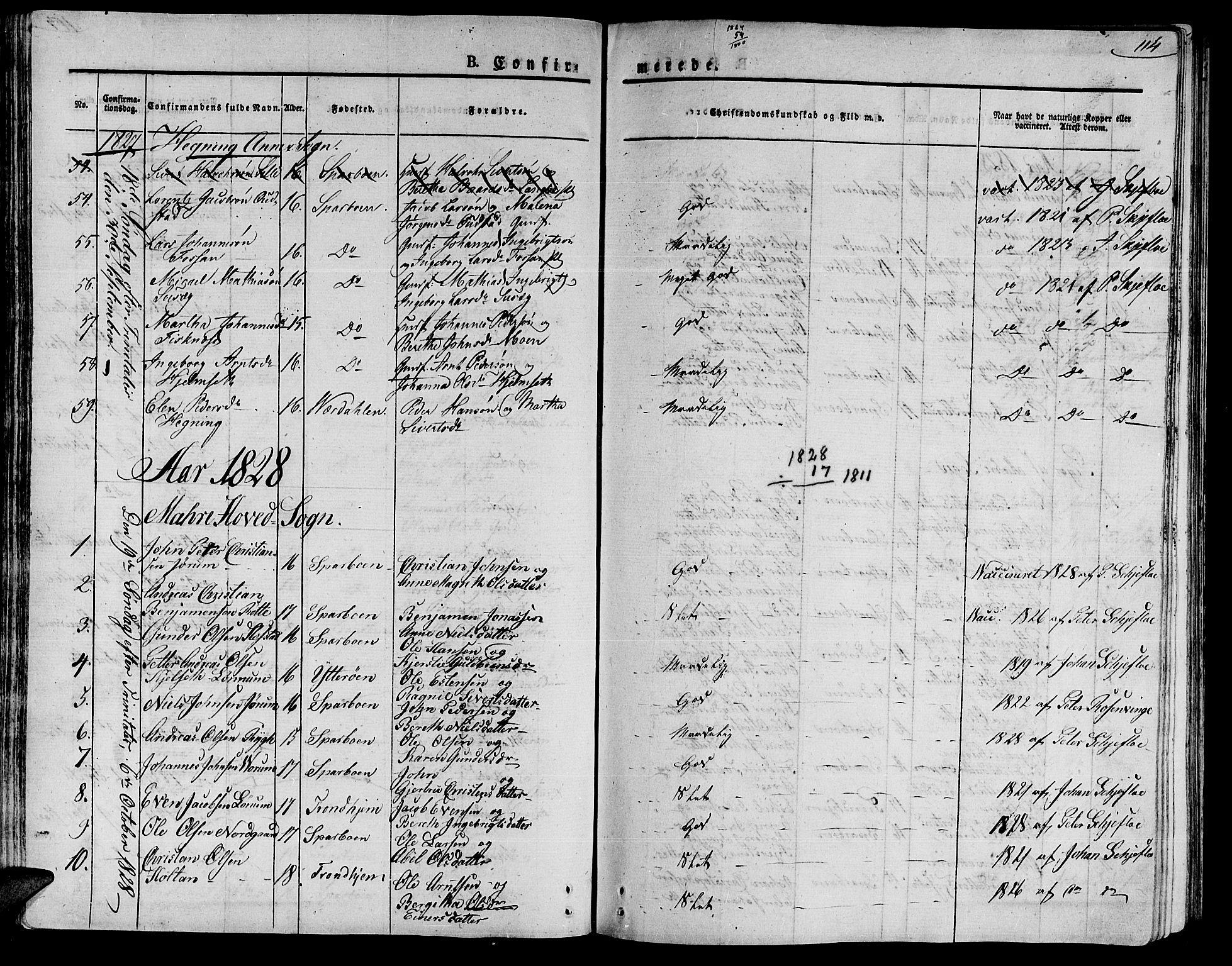 SAT, Ministerialprotokoller, klokkerbøker og fødselsregistre - Nord-Trøndelag, 735/L0336: Ministerialbok nr. 735A05 /1, 1825-1835, s. 114