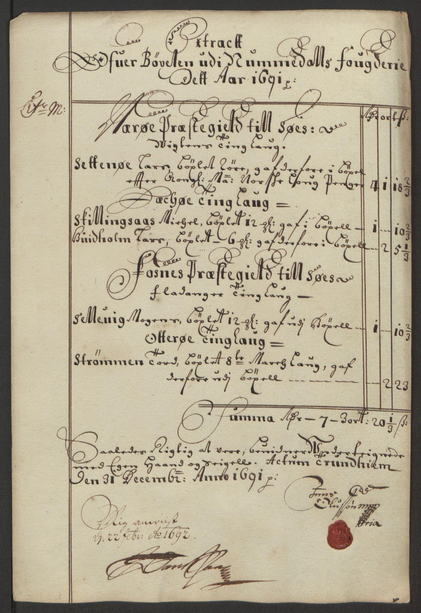 RA, Rentekammeret inntil 1814, Reviderte regnskaper, Fogderegnskap, R64/L4423: Fogderegnskap Namdal, 1690-1691, s. 289