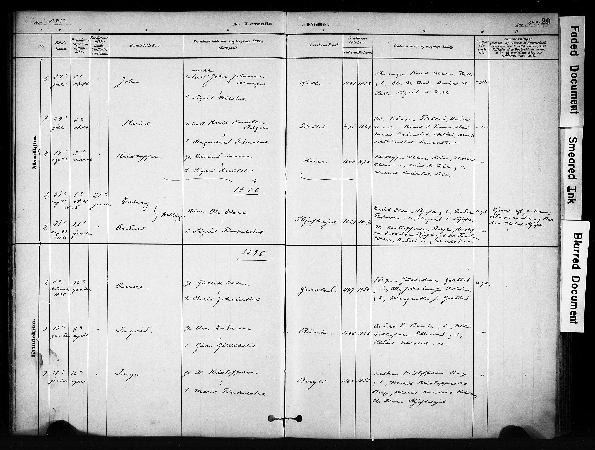 SAH, Vang prestekontor, Valdres, Ministerialbok nr. 9, 1882-1914, s. 29