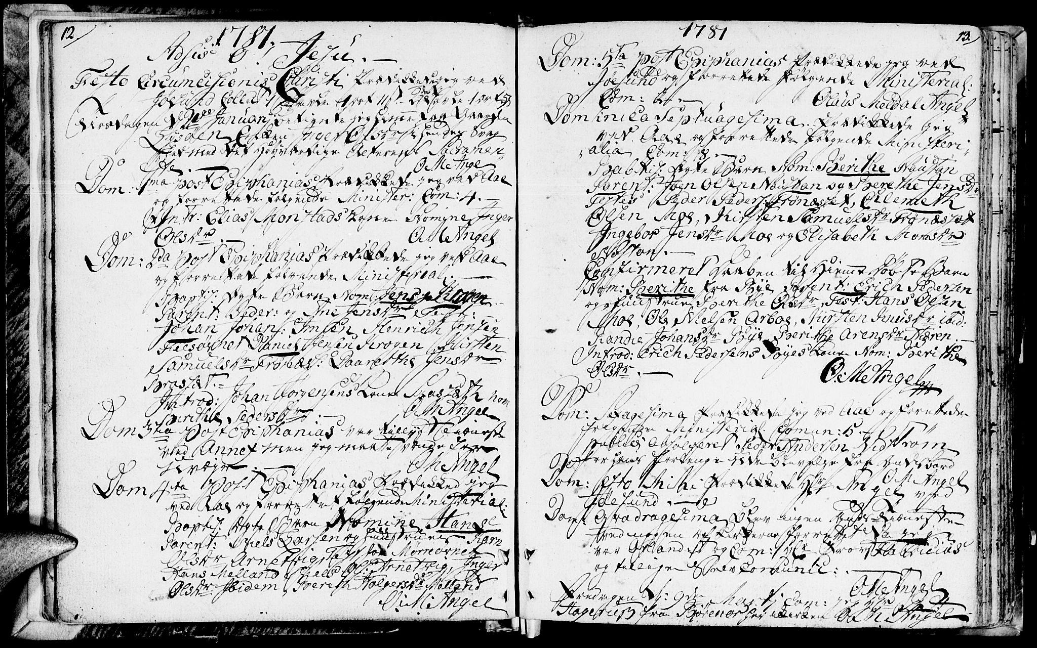 SAT, Ministerialprotokoller, klokkerbøker og fødselsregistre - Sør-Trøndelag, 655/L0673: Ministerialbok nr. 655A02, 1780-1801, s. 12-13