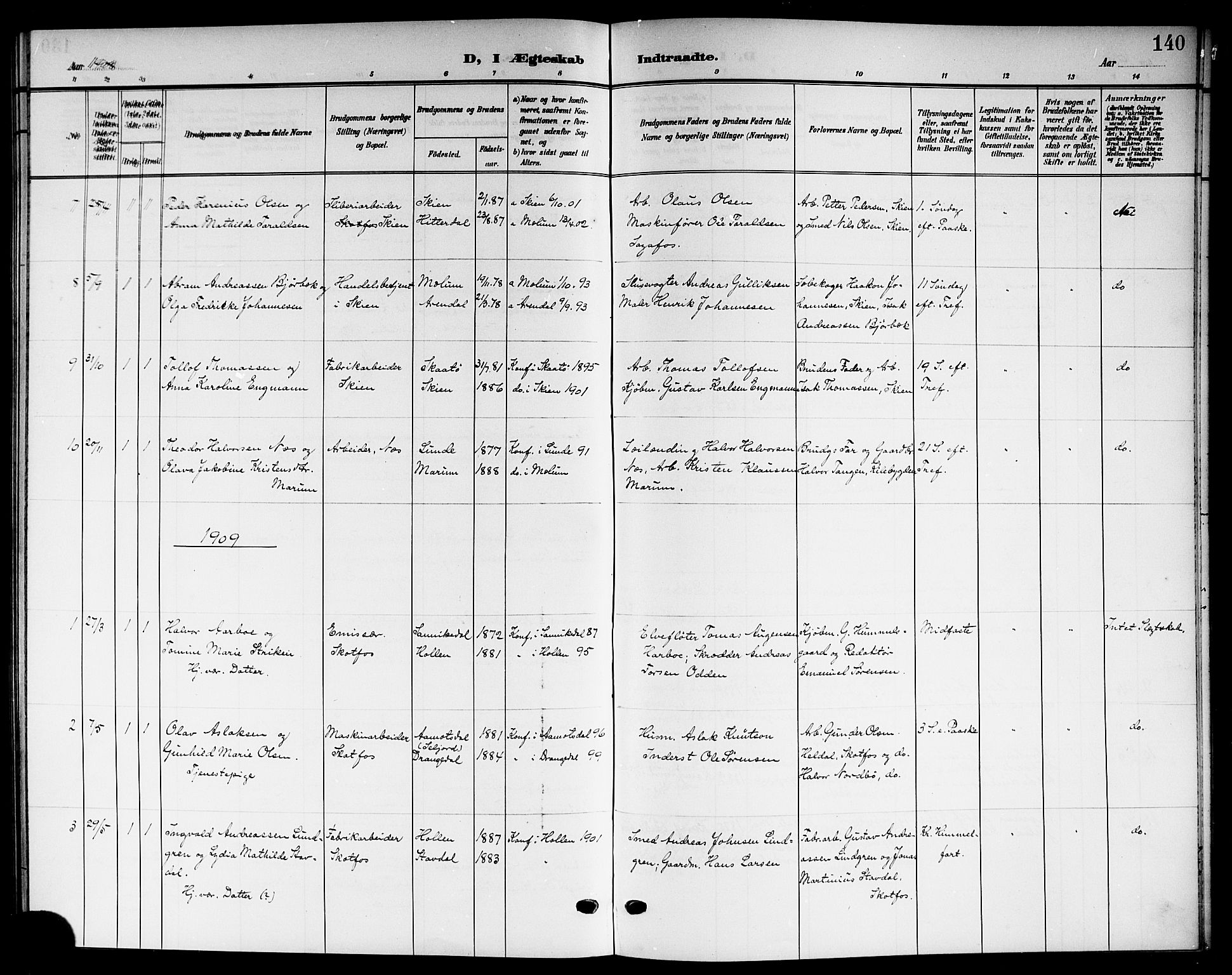 SAKO, Solum kirkebøker, G/Gb/L0005: Klokkerbok nr. II 5, 1905-1914, s. 140