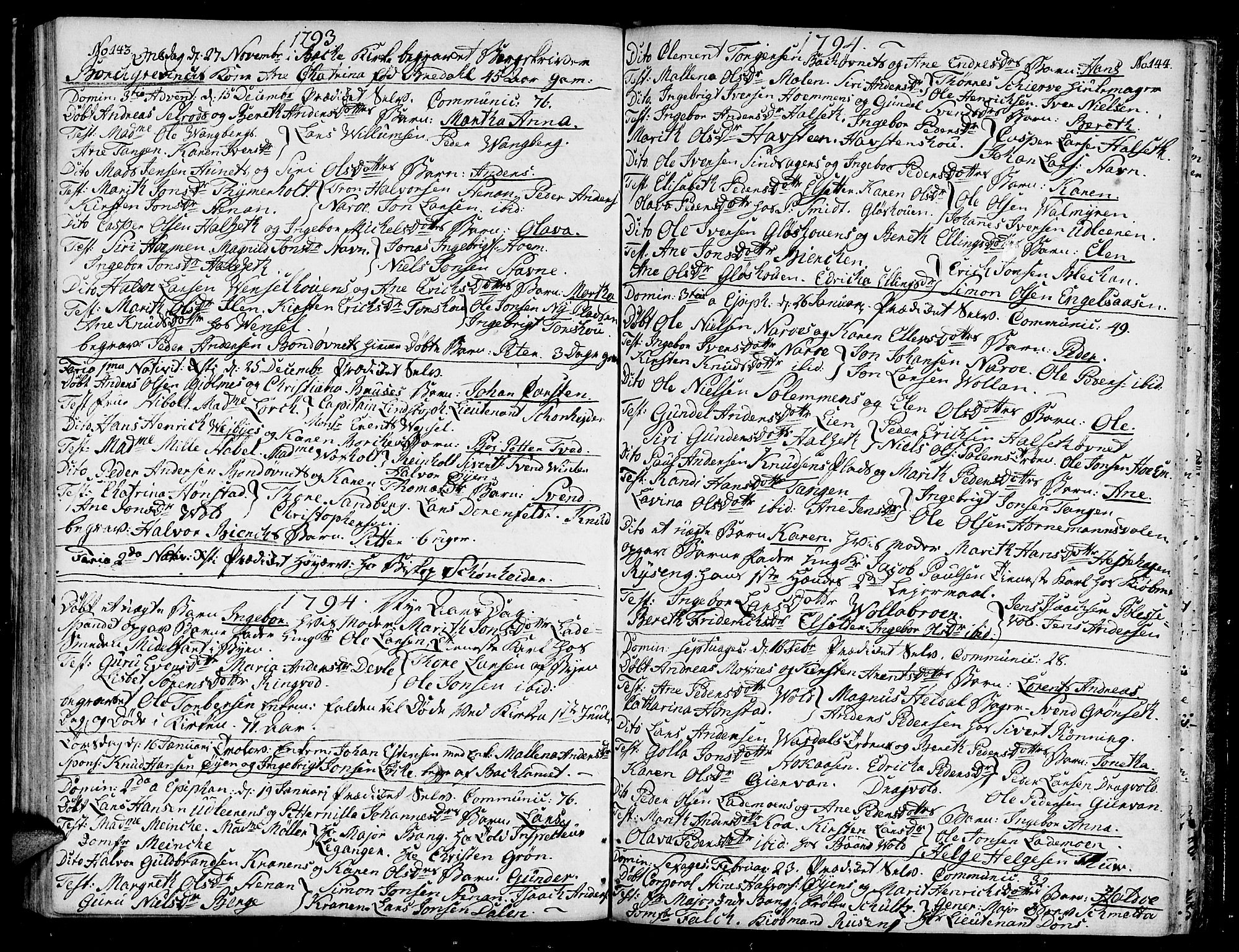 SAT, Ministerialprotokoller, klokkerbøker og fødselsregistre - Sør-Trøndelag, 604/L0180: Ministerialbok nr. 604A01, 1780-1797, s. 143-144