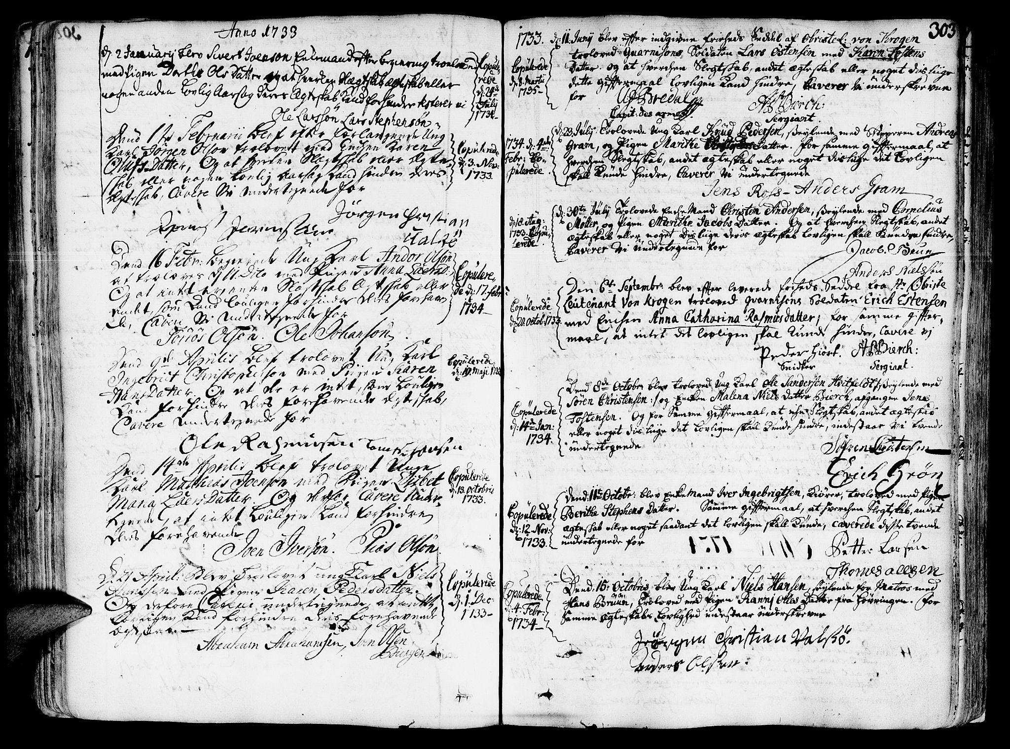 SAT, Ministerialprotokoller, klokkerbøker og fødselsregistre - Sør-Trøndelag, 602/L0103: Ministerialbok nr. 602A01, 1732-1774, s. 303