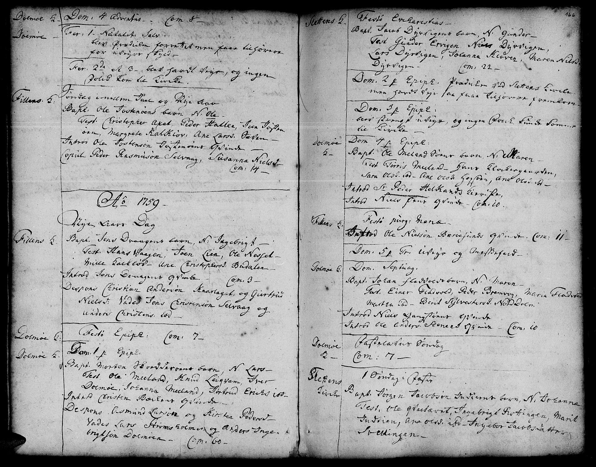 SAT, Ministerialprotokoller, klokkerbøker og fødselsregistre - Sør-Trøndelag, 634/L0525: Ministerialbok nr. 634A01, 1736-1775, s. 166