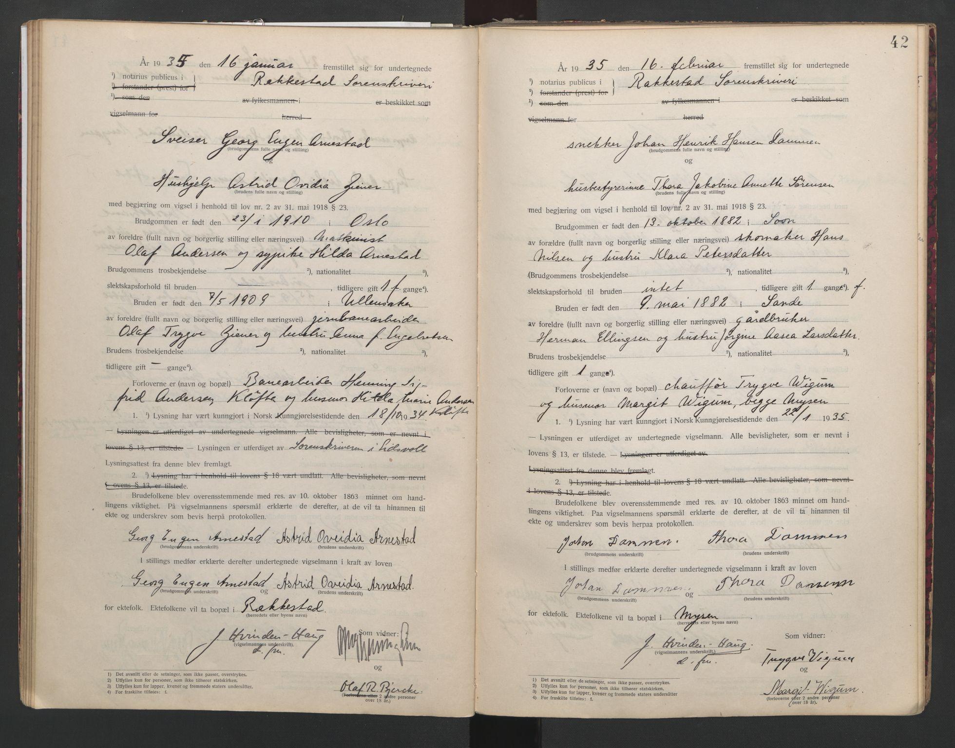 SAO, Rakkestad sorenskriveri, L/Lc/Lca/L0001: Vigselbøker, 1920-1942, s. 42