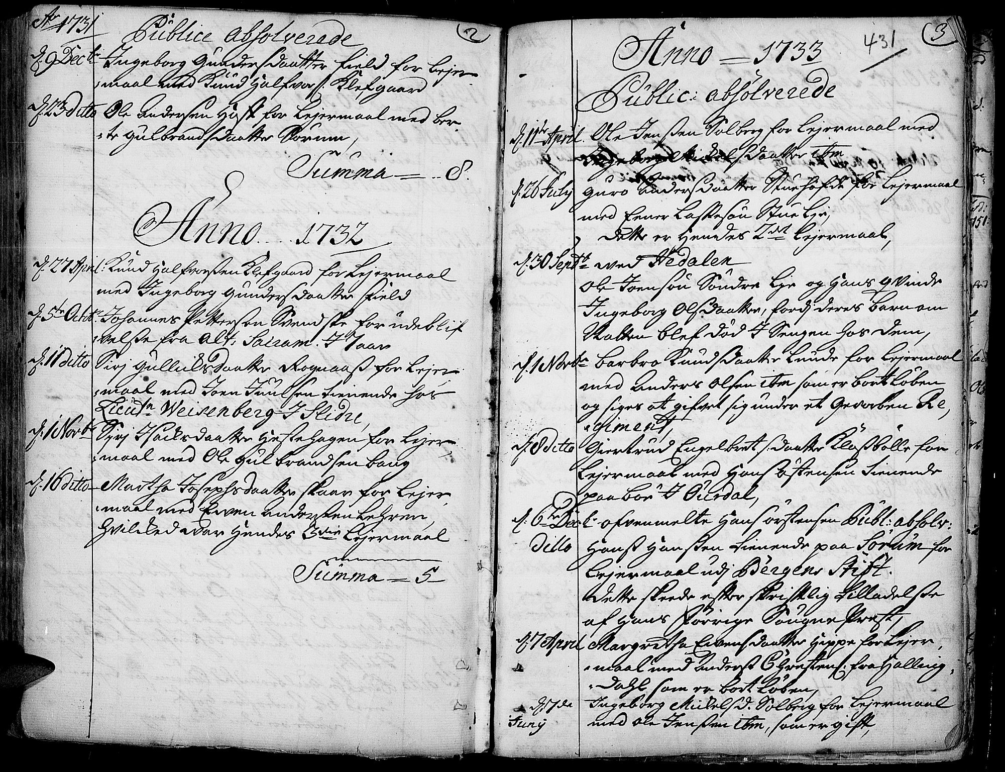 SAH, Aurdal prestekontor, Ministerialbok nr. 4, 1730-1762, s. 2-3
