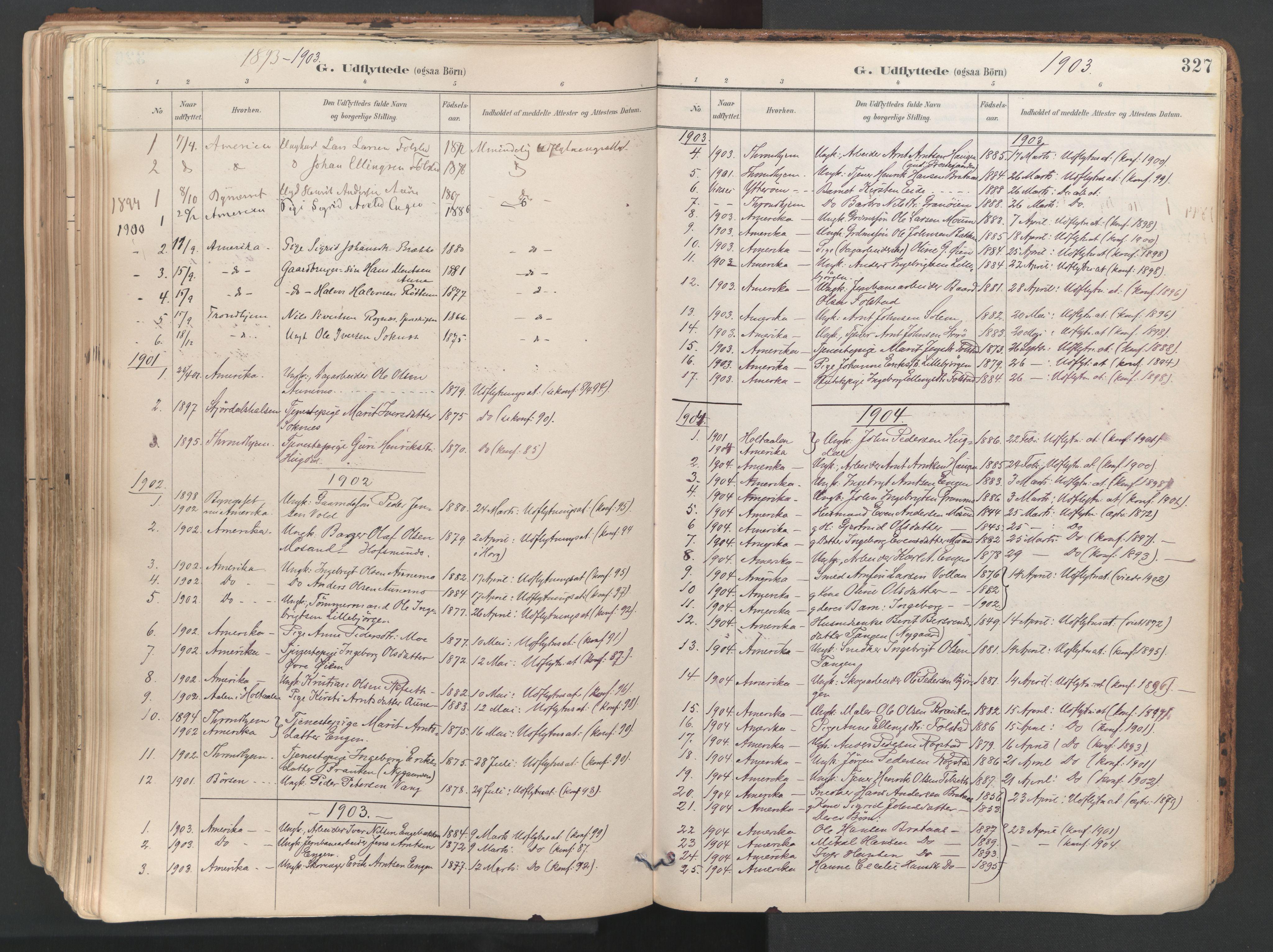 SAT, Ministerialprotokoller, klokkerbøker og fødselsregistre - Sør-Trøndelag, 687/L1004: Ministerialbok nr. 687A10, 1891-1923, s. 327