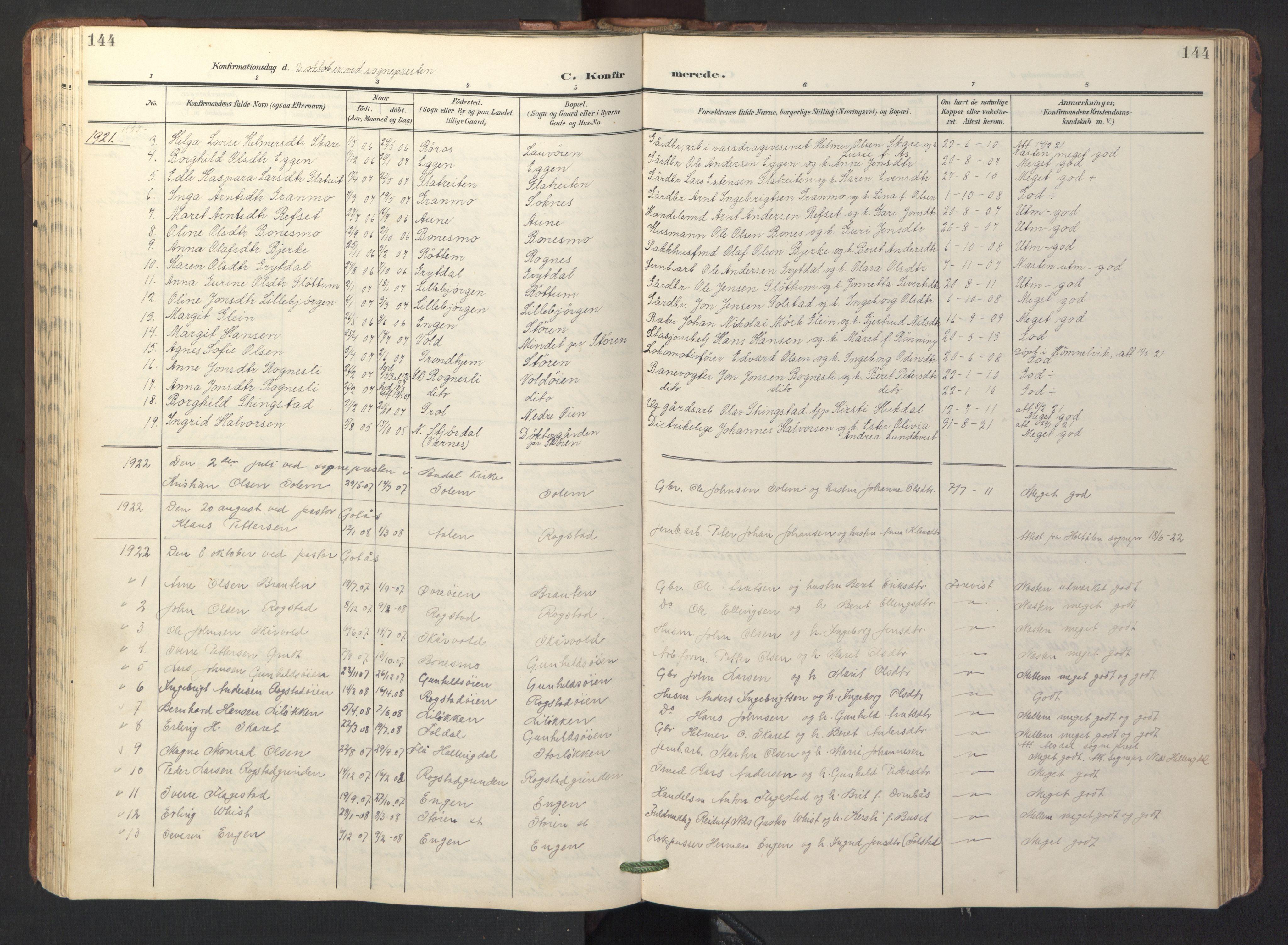 SAT, Ministerialprotokoller, klokkerbøker og fødselsregistre - Sør-Trøndelag, 687/L1019: Klokkerbok nr. 687C03, 1904-1931, s. 144
