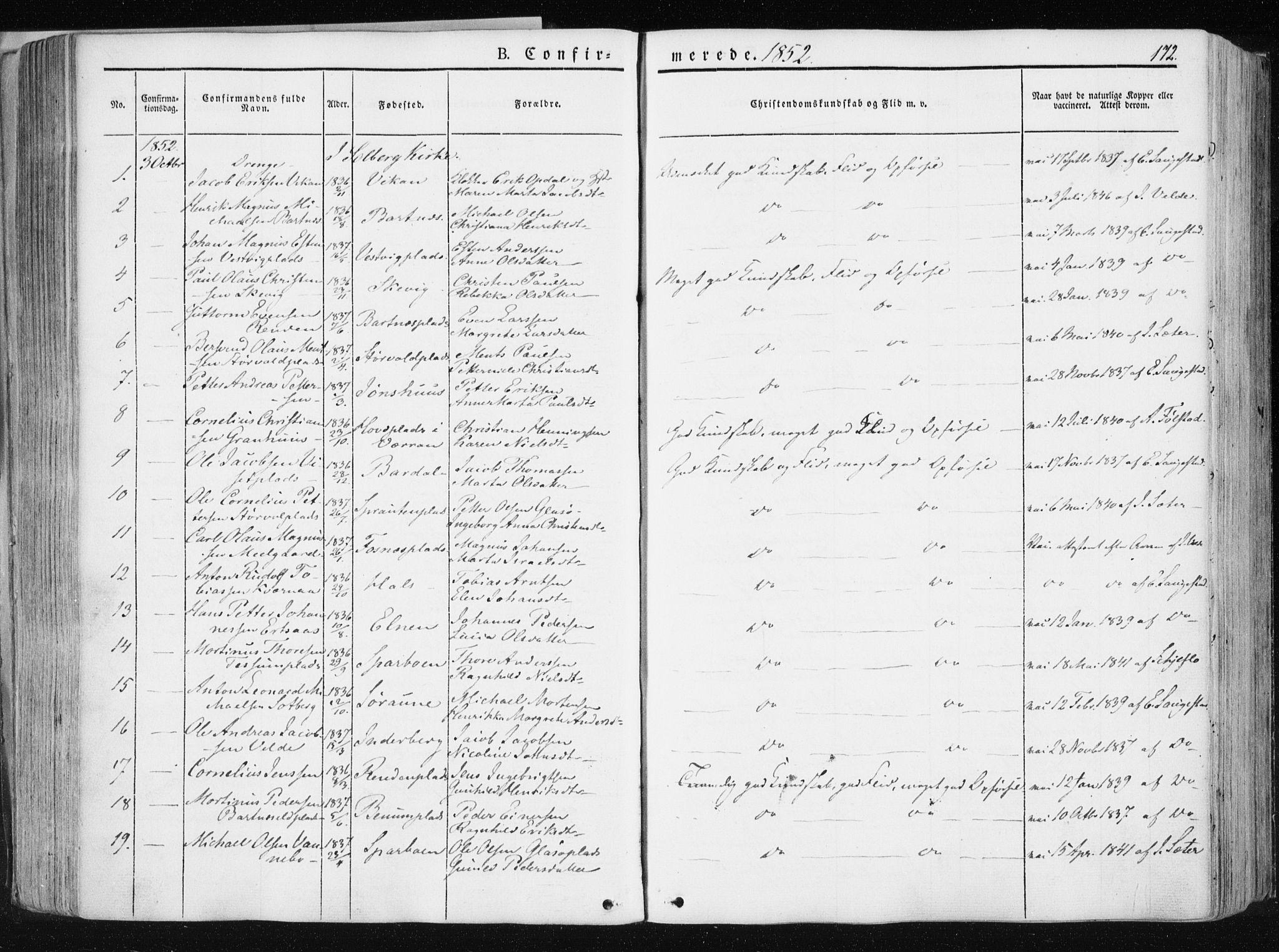 SAT, Ministerialprotokoller, klokkerbøker og fødselsregistre - Nord-Trøndelag, 741/L0393: Ministerialbok nr. 741A07, 1849-1863, s. 172
