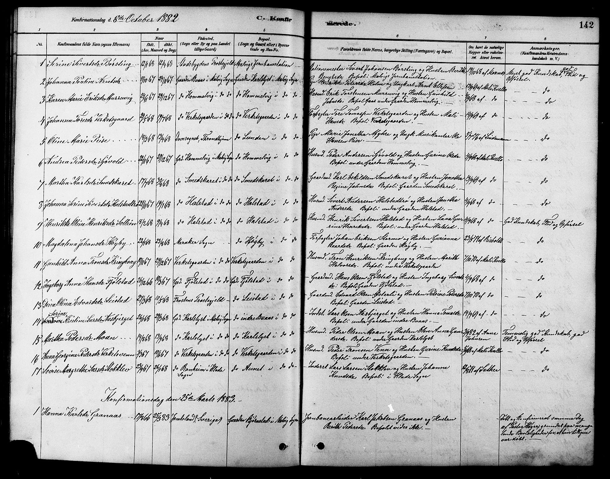 SAT, Ministerialprotokoller, klokkerbøker og fødselsregistre - Sør-Trøndelag, 616/L0423: Klokkerbok nr. 616C06, 1878-1903, s. 142