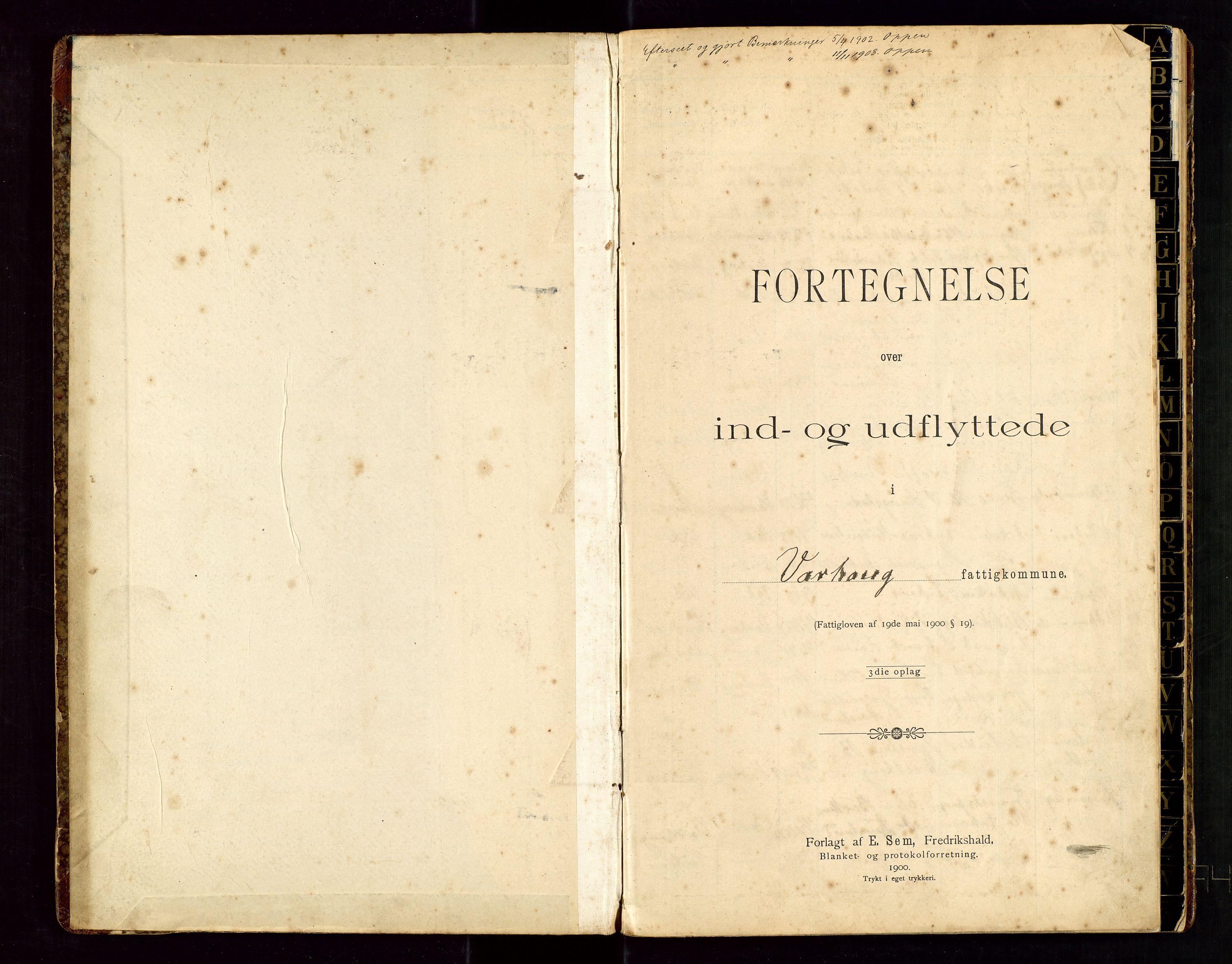 SAST, Hå lensmannskontor, Gw/L0004: Protokoll over inn- og utflyttede-Varhaug, 1901-1934, s. 2