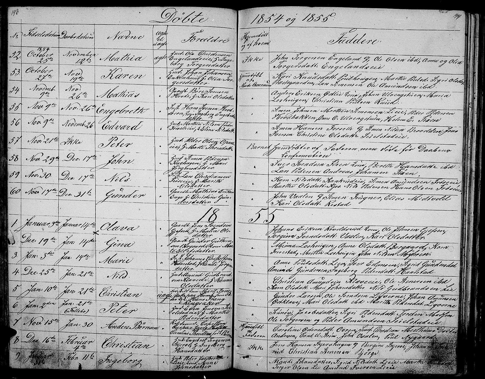 SAH, Gausdal prestekontor, Klokkerbok nr. 3, 1829-1864, s. 143-144