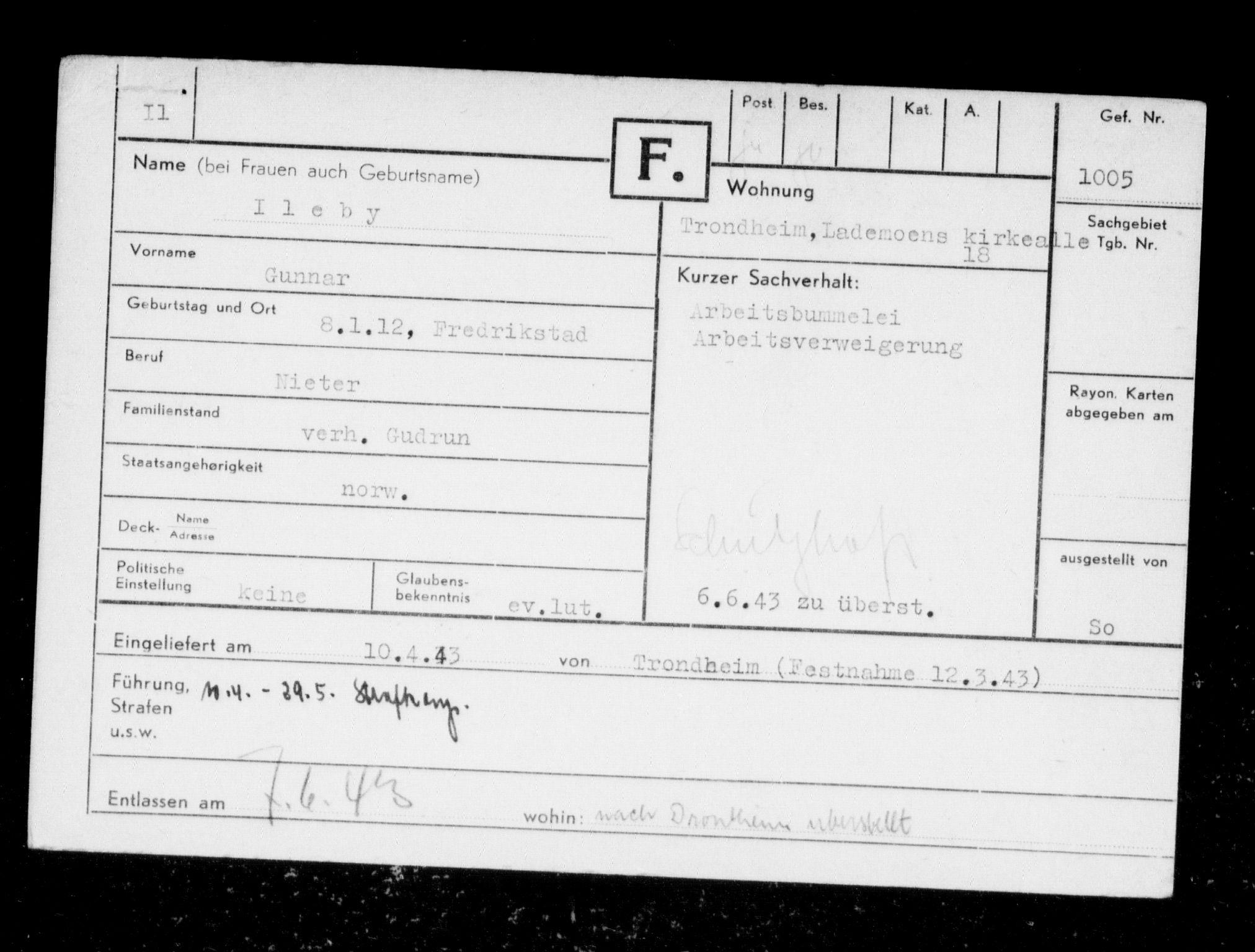 RA, Befehlshaber der Sicherheitspolizei und des SD, F/Fc/L0006: Fangeregister Falstad: I - Kj, 1941-1945