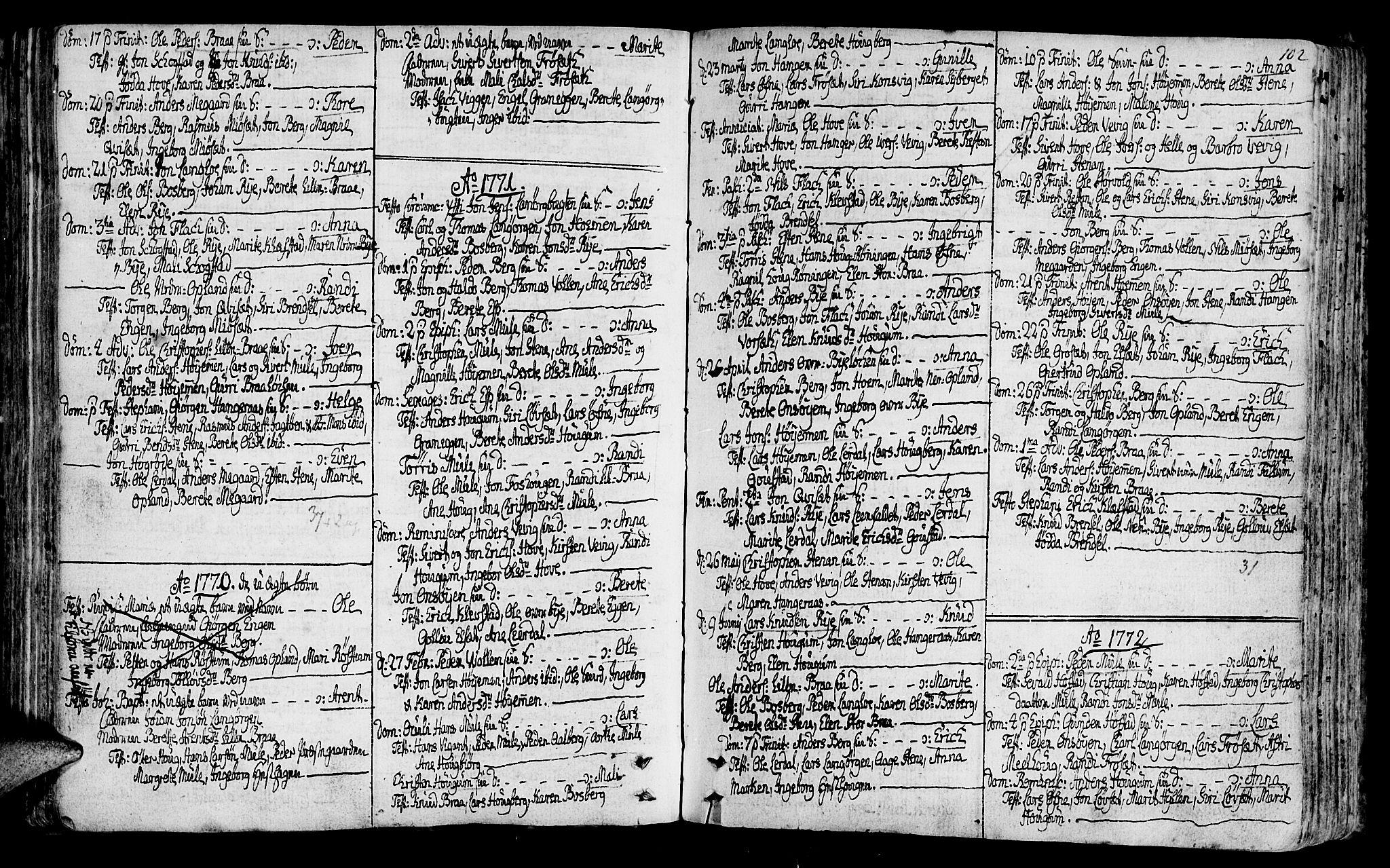 SAT, Ministerialprotokoller, klokkerbøker og fødselsregistre - Sør-Trøndelag, 612/L0370: Ministerialbok nr. 612A04, 1754-1802, s. 102