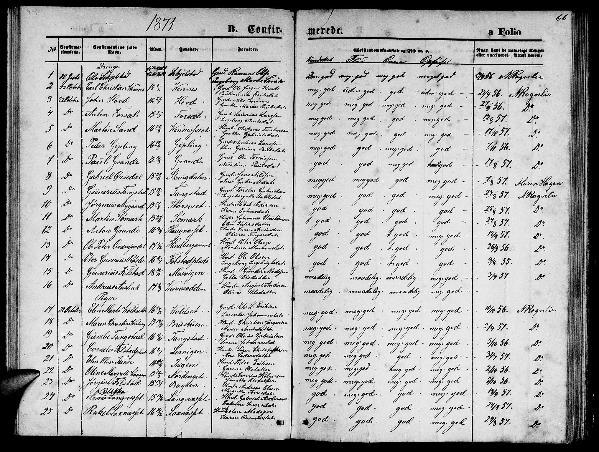 SAT, Ministerialprotokoller, klokkerbøker og fødselsregistre - Nord-Trøndelag, 744/L0422: Klokkerbok nr. 744C01, 1871-1885, s. 66