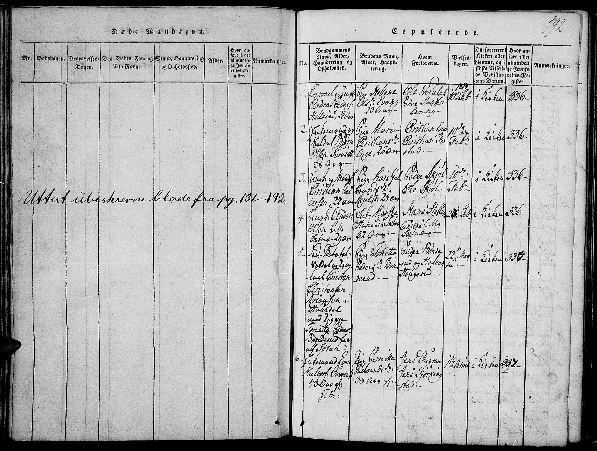 SAH, Toten prestekontor, Ministerialbok nr. 9, 1814-1820, s. 192