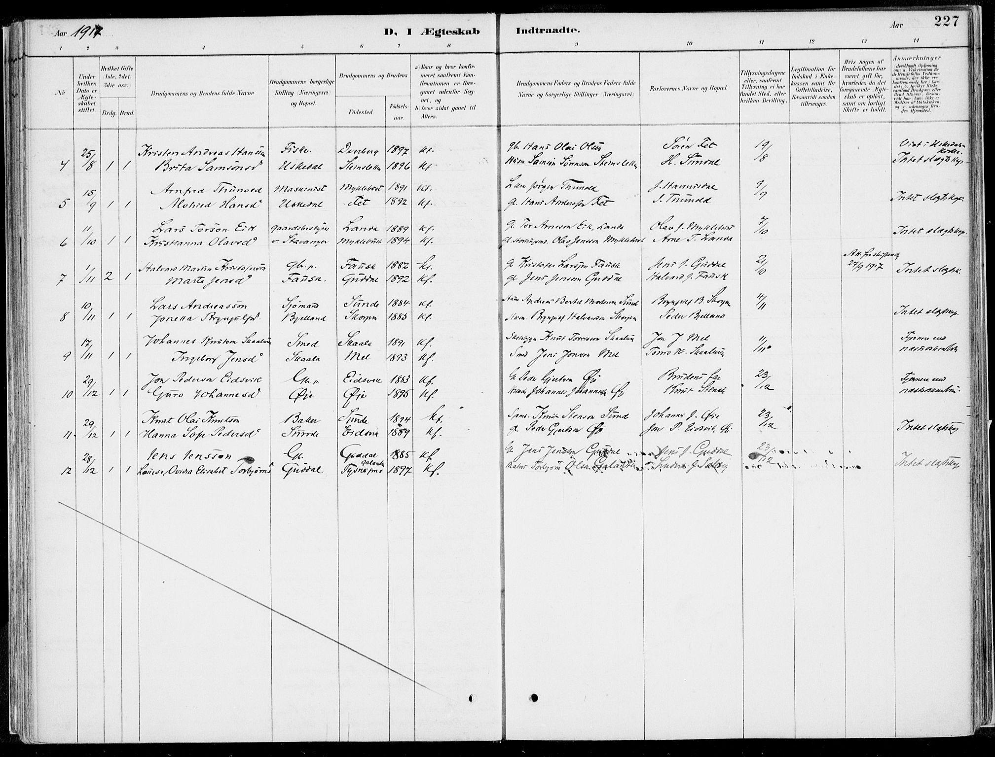 SAB, Kvinnherad Sokneprestembete, H/Haa: Ministerialbok nr. B  1, 1887-1921, s. 227