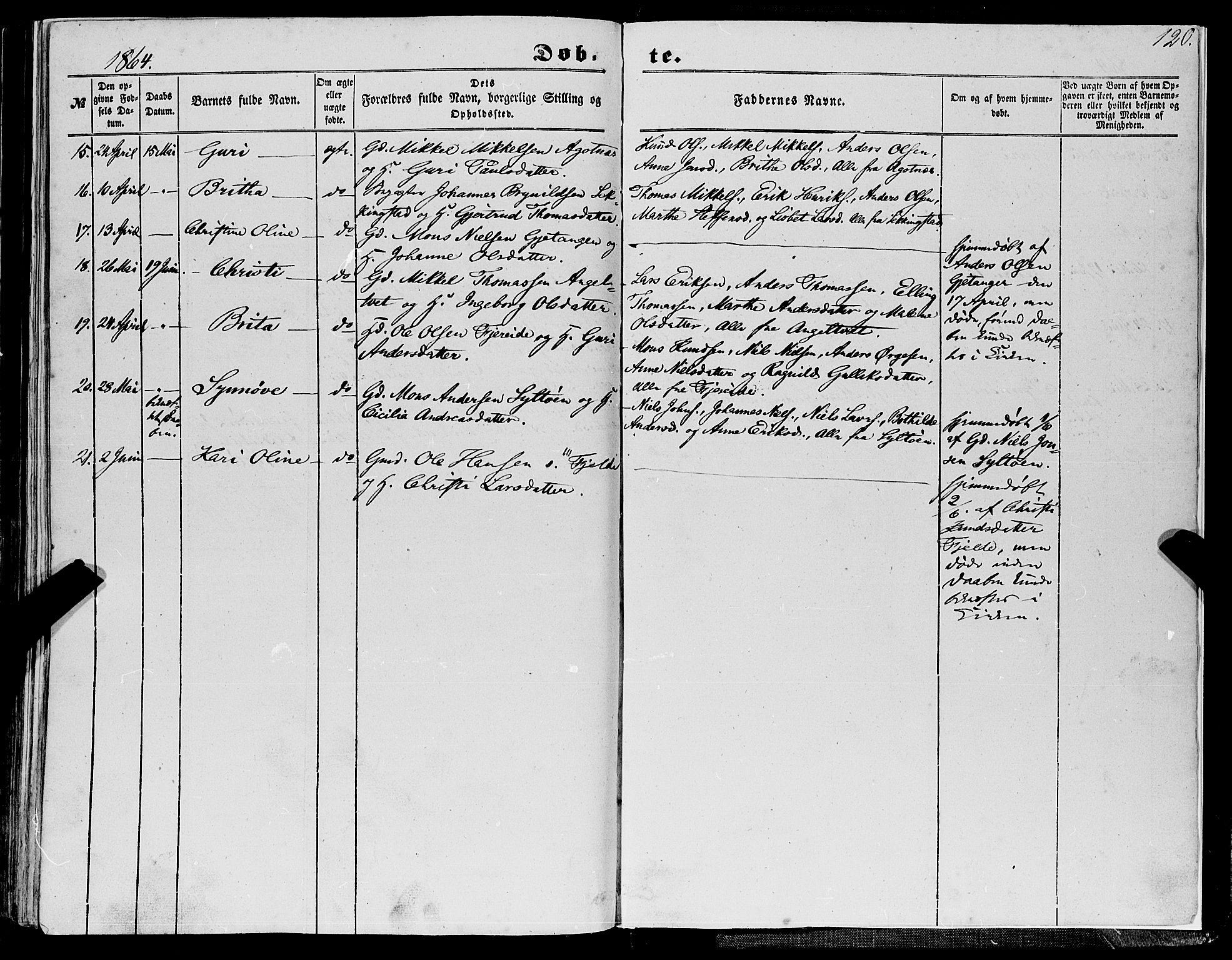SAB, Fjell sokneprestembete, H/Haa: Ministerialbok nr. A 2, 1847-1864, s. 120