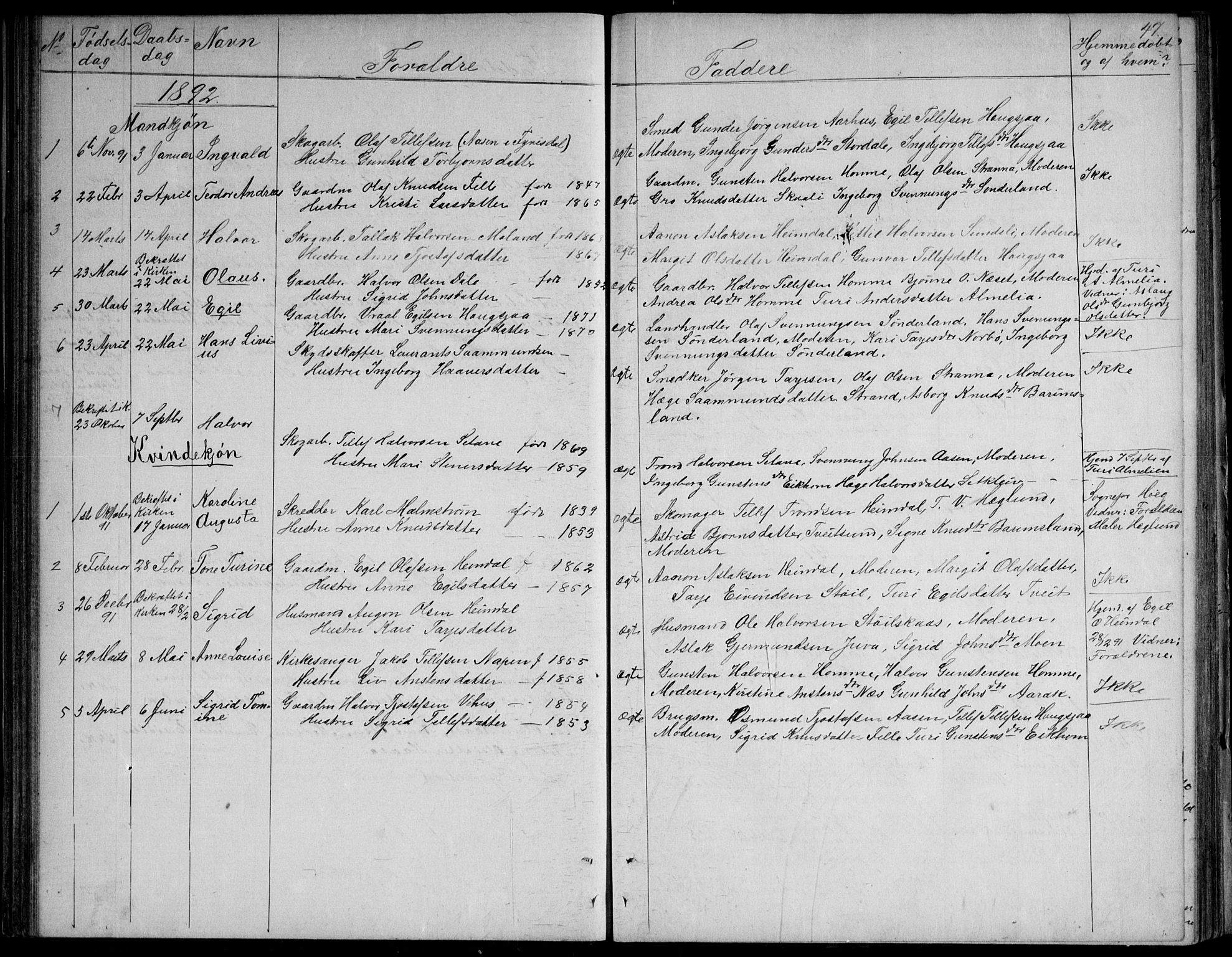 SAKO, Nissedal kirkebøker, G/Gb/L0002: Klokkerbok nr. II 2, 1863-1892, s. 47