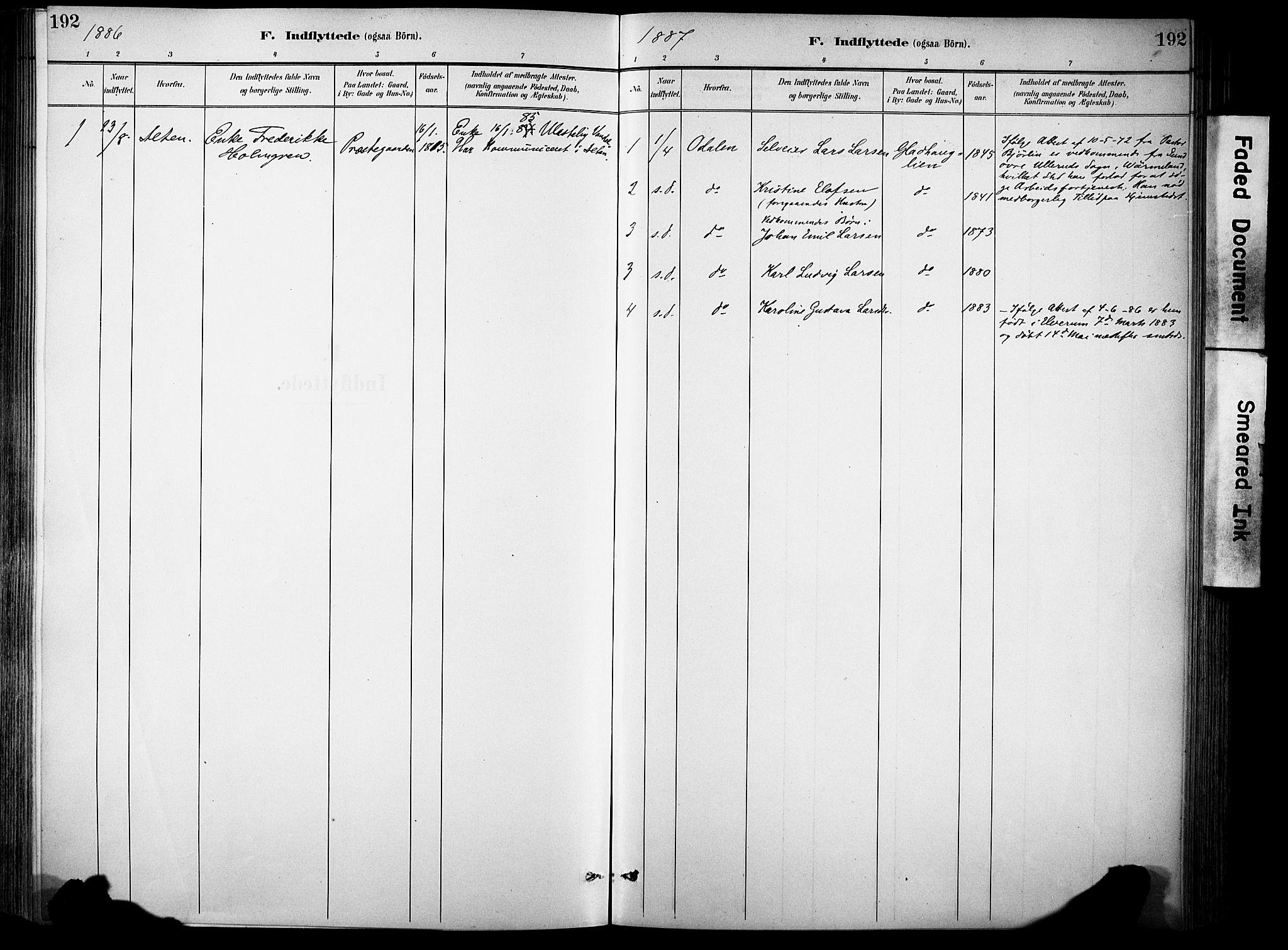 SAH, Sør-Aurdal prestekontor, Ministerialbok nr. 9, 1886-1906, s. 192