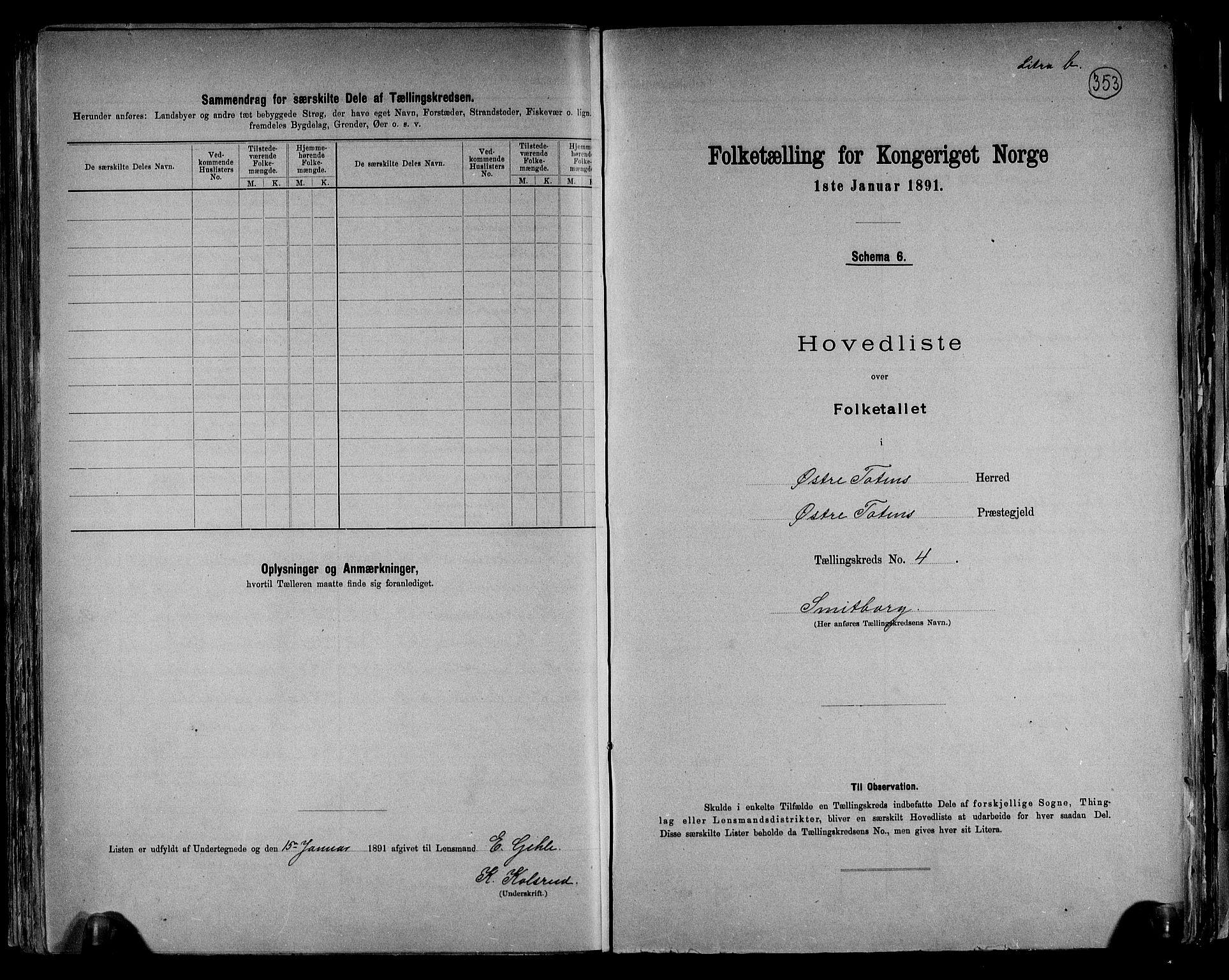RA, Folketelling 1891 for 0528 Østre Toten herred, 1891, s. 16