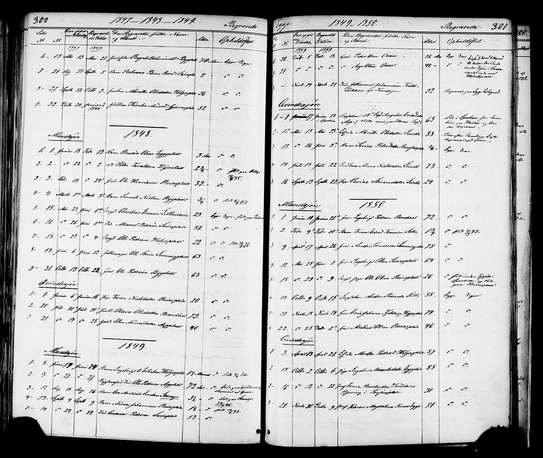 SAT, Ministerialprotokoller, klokkerbøker og fødselsregistre - Nord-Trøndelag, 739/L0367: Ministerialbok nr. 739A01 /3, 1838-1868, s. 300-301