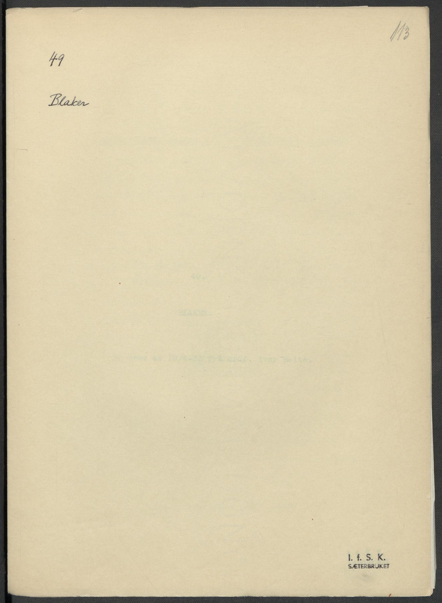 RA, Instituttet for sammenlignende kulturforskning, F/Fc/L0002: Eske B2:, 1932-1936, s. 113