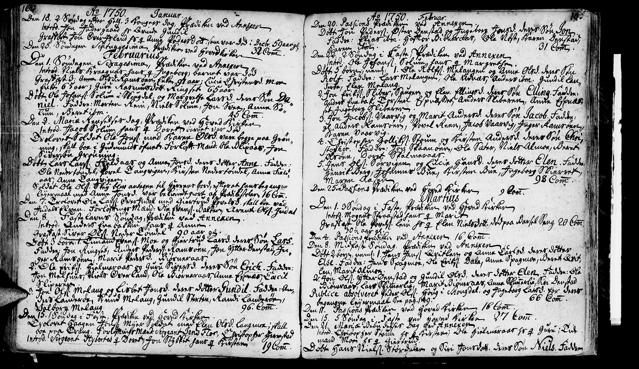 SAT, Ministerialprotokoller, klokkerbøker og fødselsregistre - Sør-Trøndelag, 646/L0604: Ministerialbok nr. 646A02, 1735-1750, s. 162-163