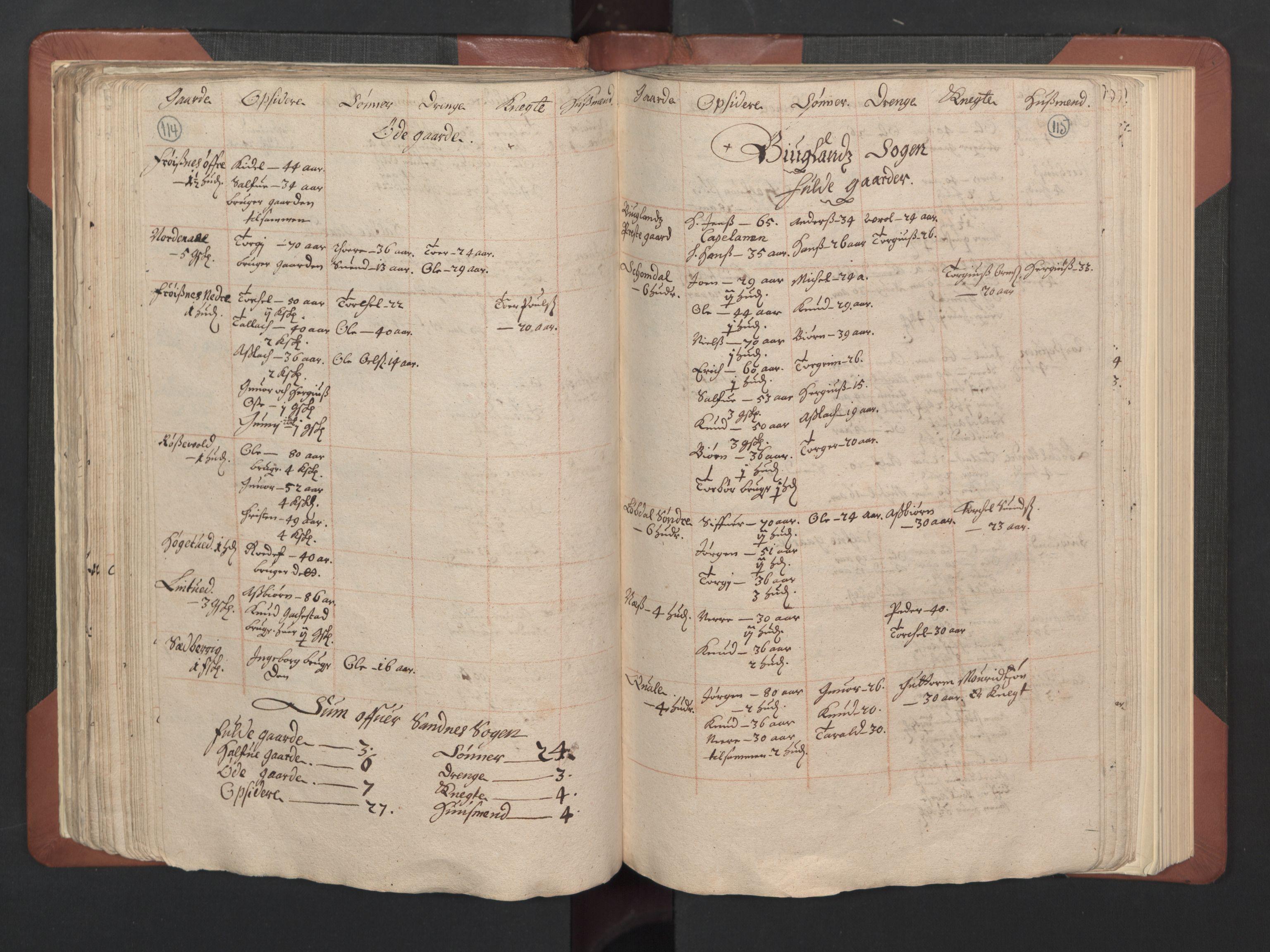RA, Fogdenes og sorenskrivernes manntall 1664-1666, nr. 8: Råbyggelaget fogderi, 1664-1665, s. 114-115