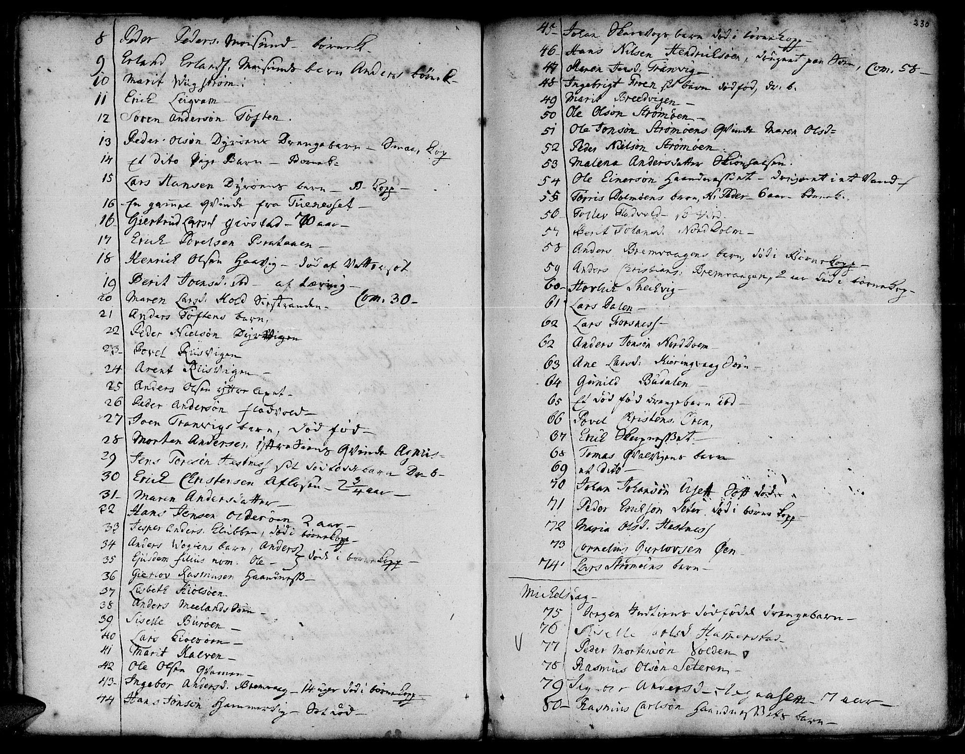 SAT, Ministerialprotokoller, klokkerbøker og fødselsregistre - Sør-Trøndelag, 634/L0525: Ministerialbok nr. 634A01, 1736-1775, s. 230