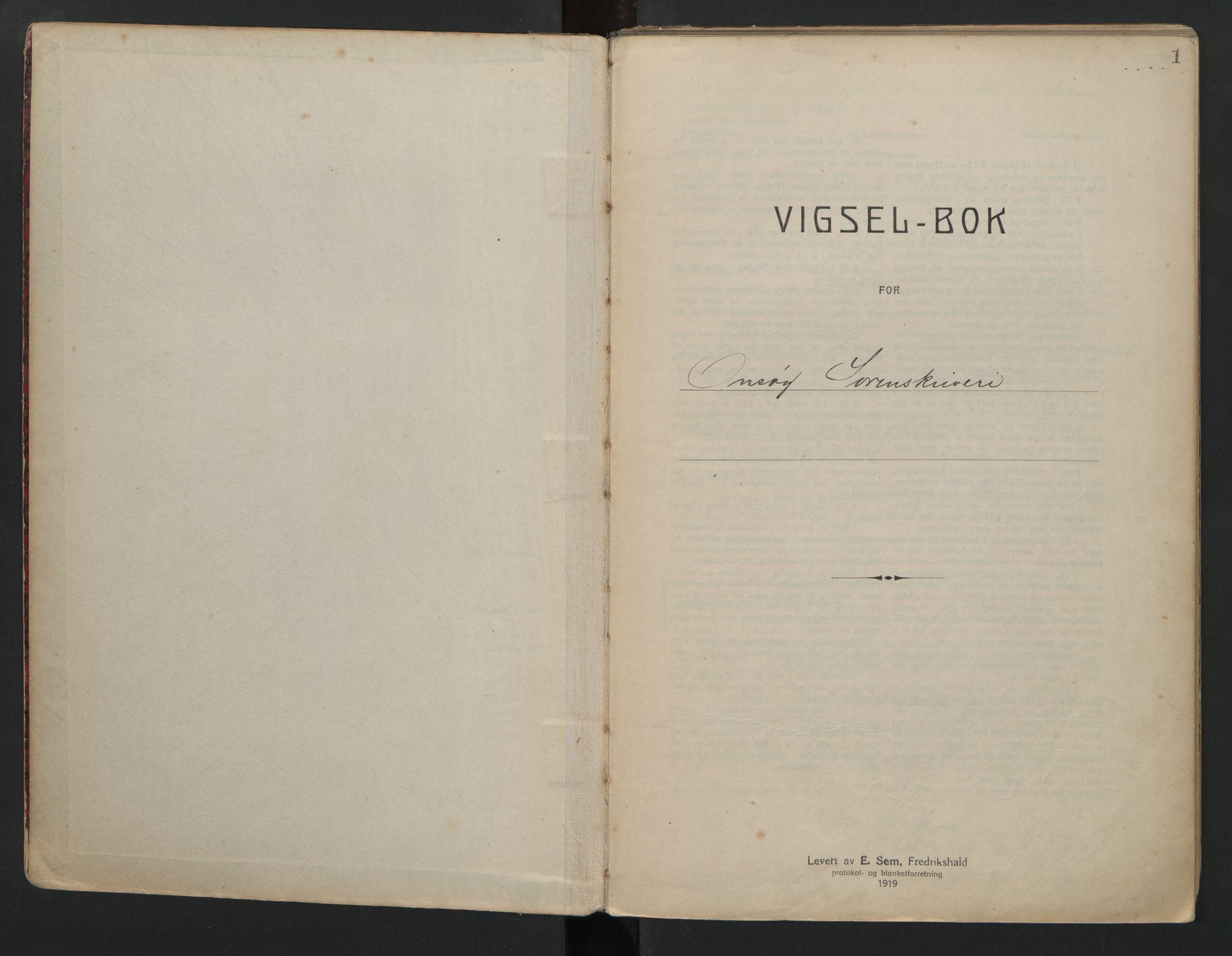 SAO, Onsøy sorenskriveri, L/La/L0001: Vigselsbok, 1920-1942, s. 1