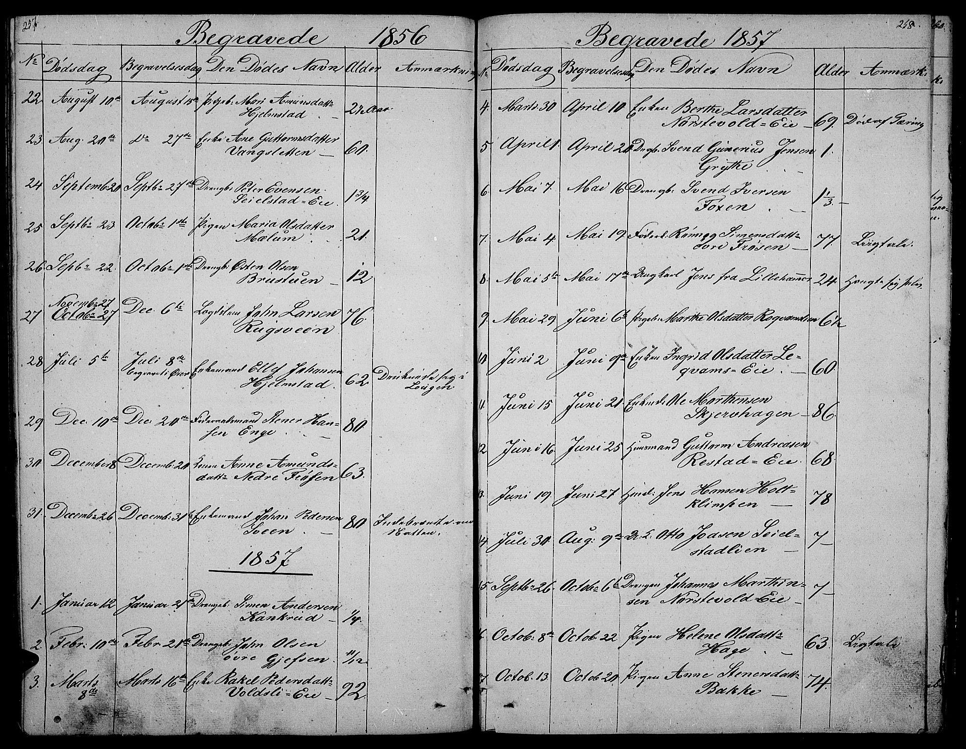 SAH, Gausdal prestekontor, Klokkerbok nr. 3, 1829-1864, s. 257-258