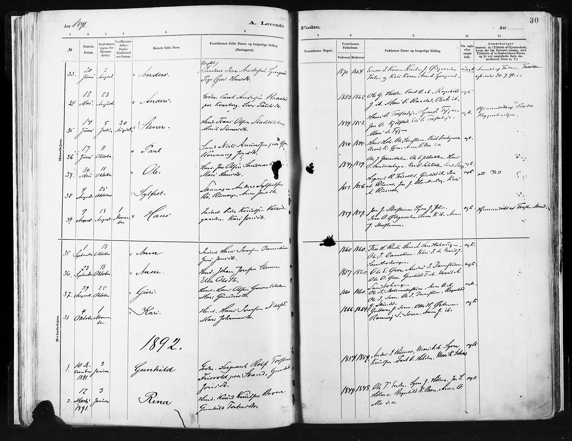 SAH, Vågå prestekontor, Ministerialbok nr. 9, 1886-1904, s. 30