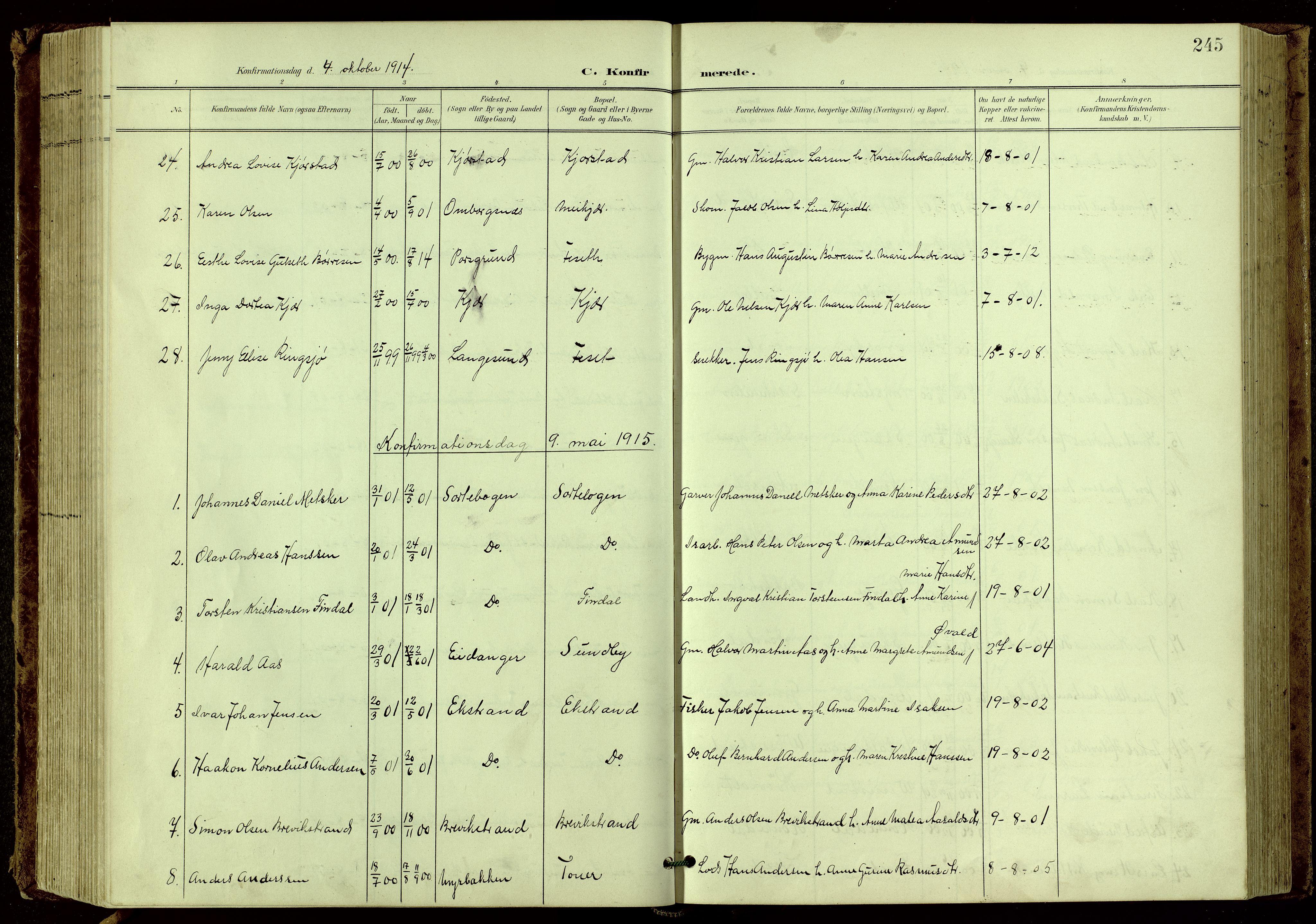 SAKO, Bamble kirkebøker, G/Ga/L0010: Klokkerbok nr. I 10, 1901-1919, s. 245