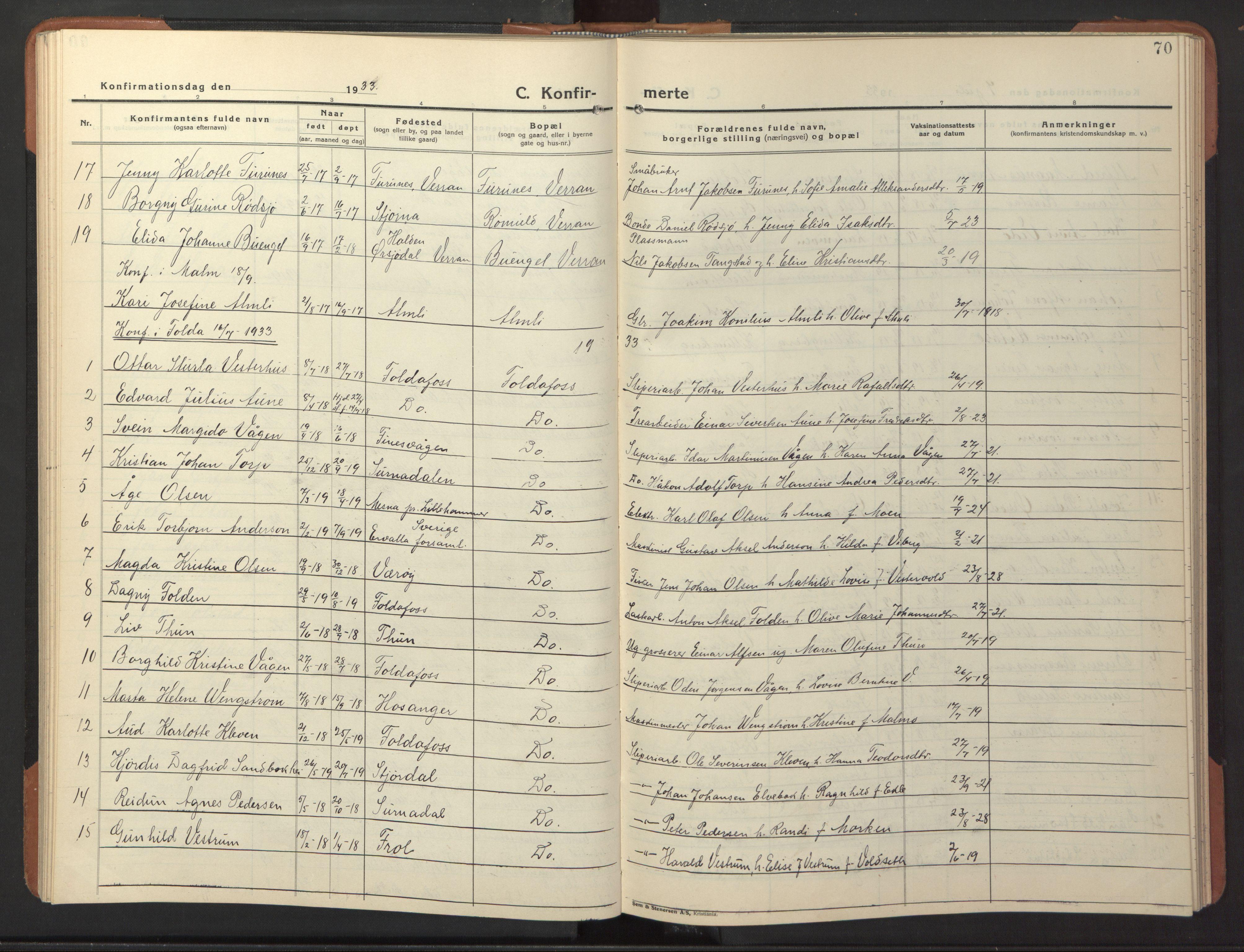 SAT, Ministerialprotokoller, klokkerbøker og fødselsregistre - Nord-Trøndelag, 744/L0425: Klokkerbok nr. 744C04, 1924-1947, s. 70