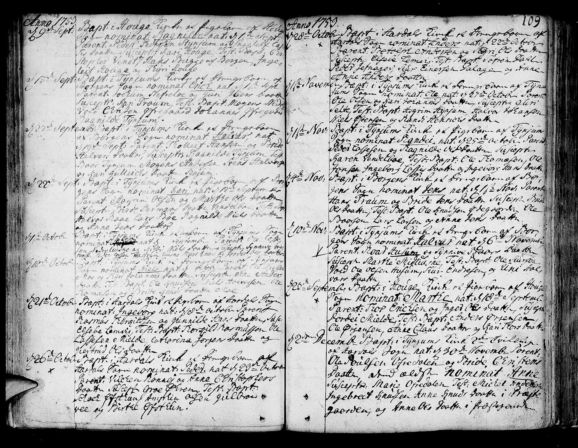 SAB, Lærdal sokneprestembete, Ministerialbok nr. A 2, 1752-1782, s. 109