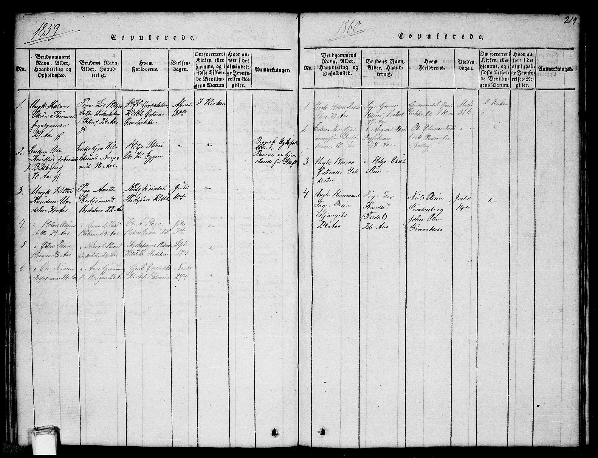 SAKO, Gransherad kirkebøker, G/Gb/L0001: Klokkerbok nr. II 1, 1815-1860, s. 214