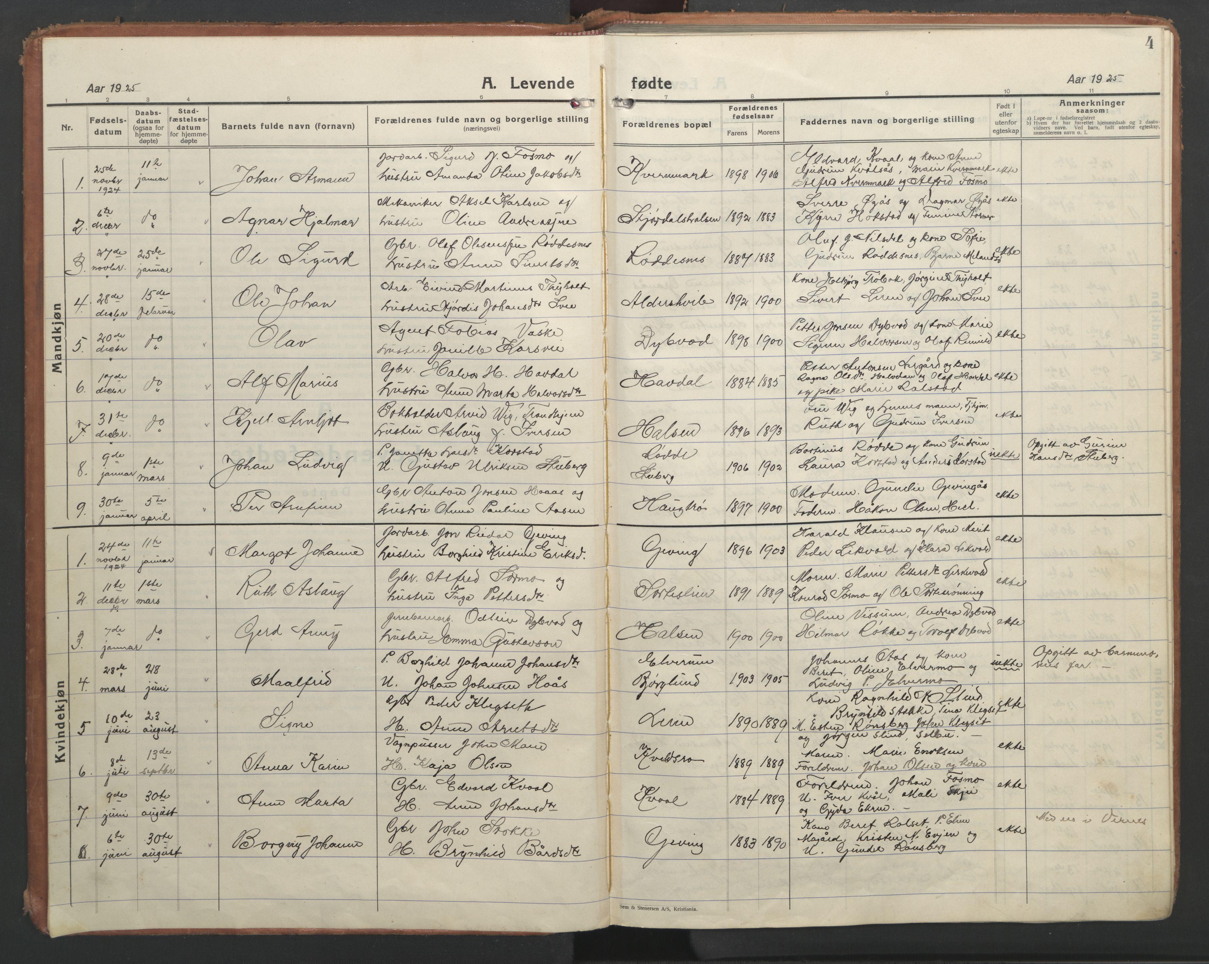 SAT, Ministerialprotokoller, klokkerbøker og fødselsregistre - Nord-Trøndelag, 710/L0097: Klokkerbok nr. 710C02, 1925-1955, s. 4