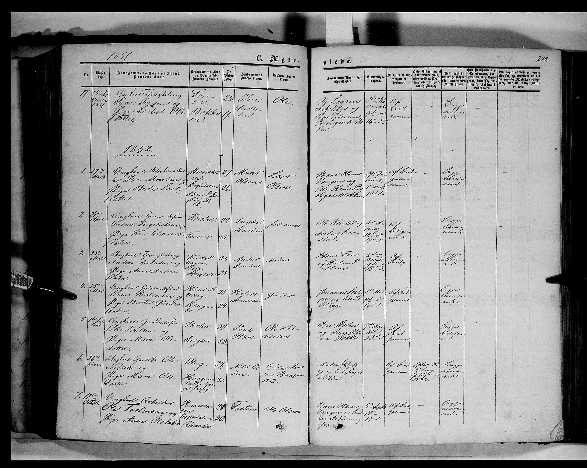 SAH, Sør-Fron prestekontor, H/Ha/Haa/L0001: Ministerialbok nr. 1, 1849-1863, s. 249