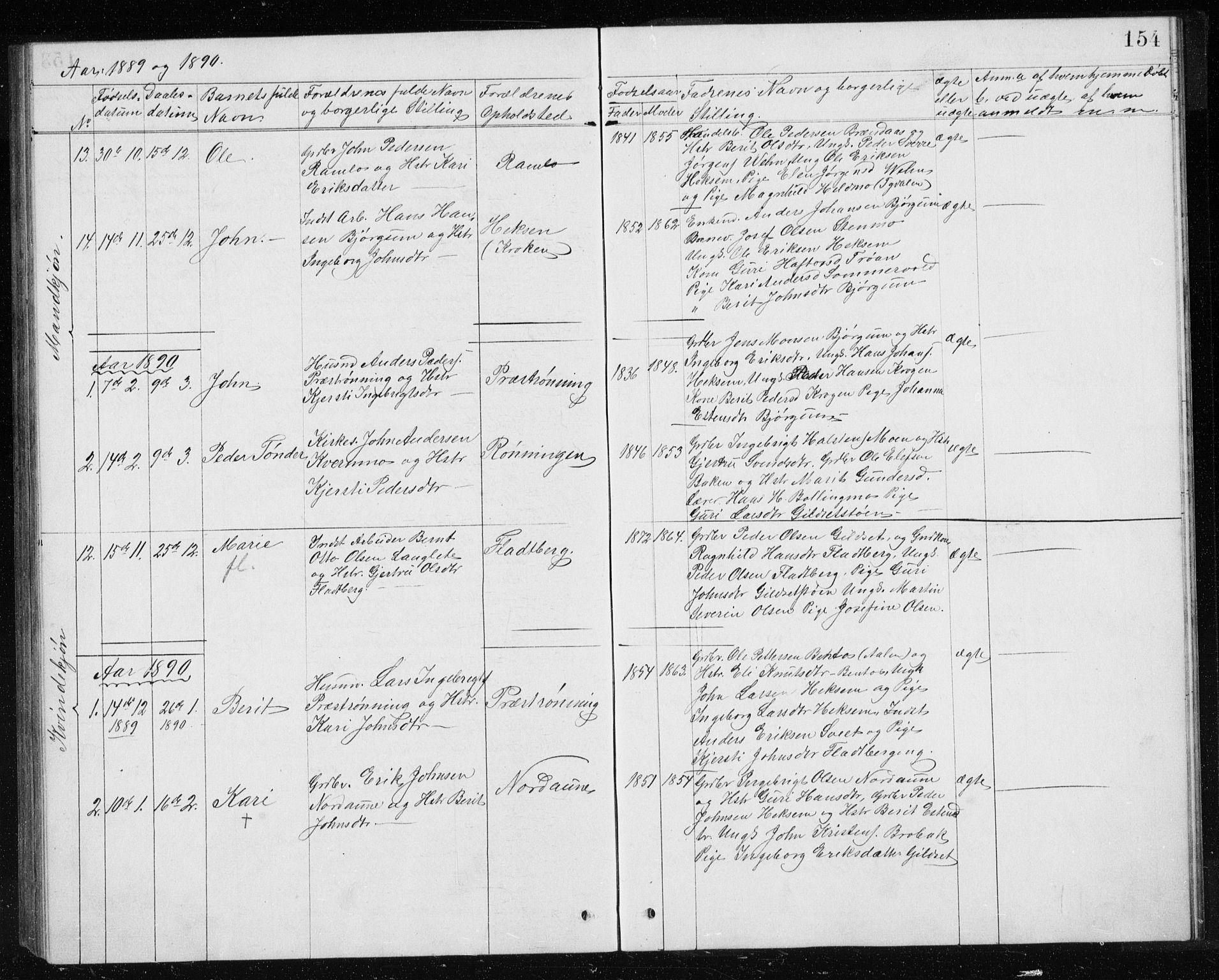 SAT, Ministerialprotokoller, klokkerbøker og fødselsregistre - Sør-Trøndelag, 685/L0977: Klokkerbok nr. 685C02, 1879-1890, s. 154