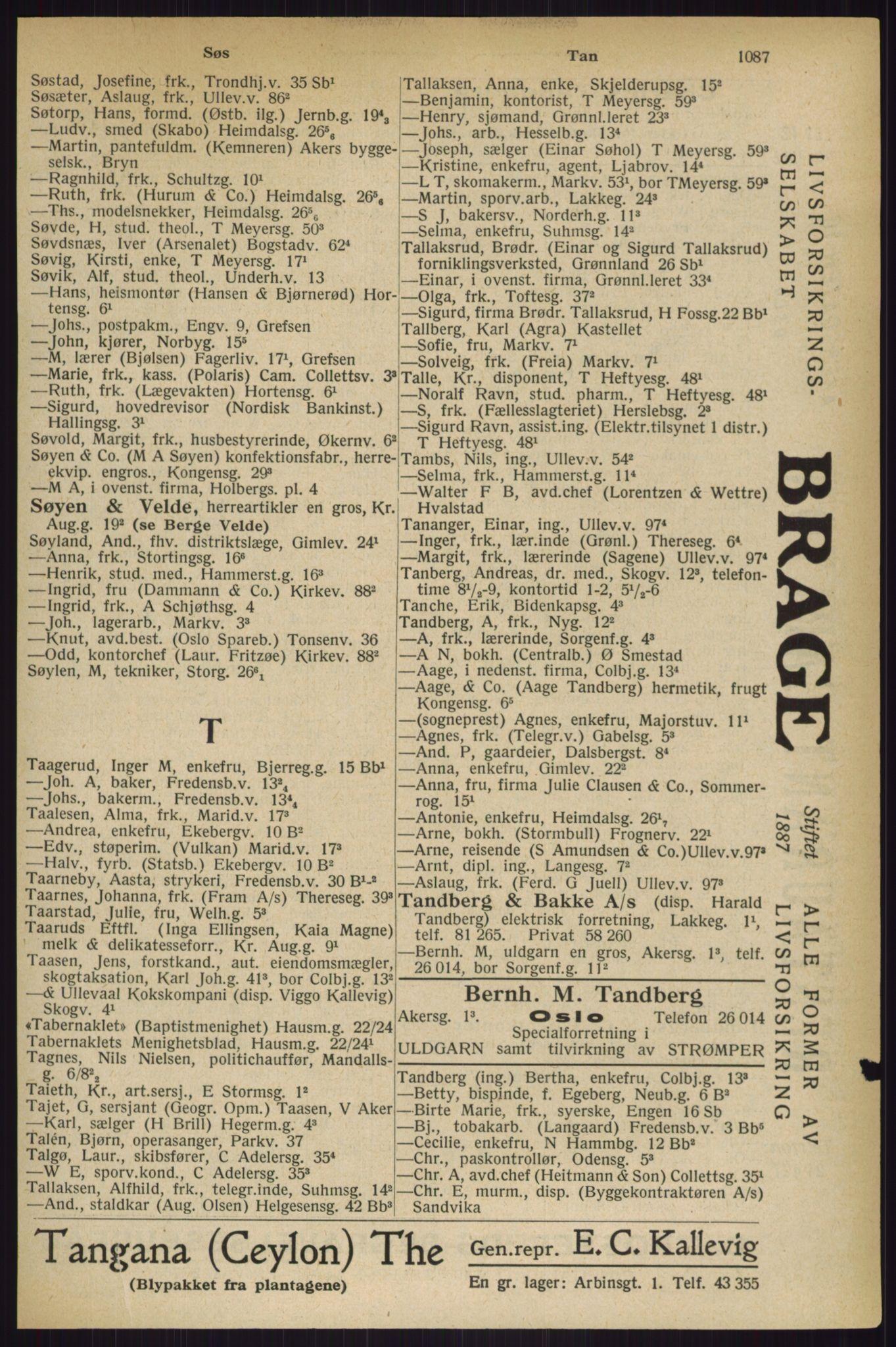 RA, Oslo adressebok (publikasjon)*, 1927, s. 1087