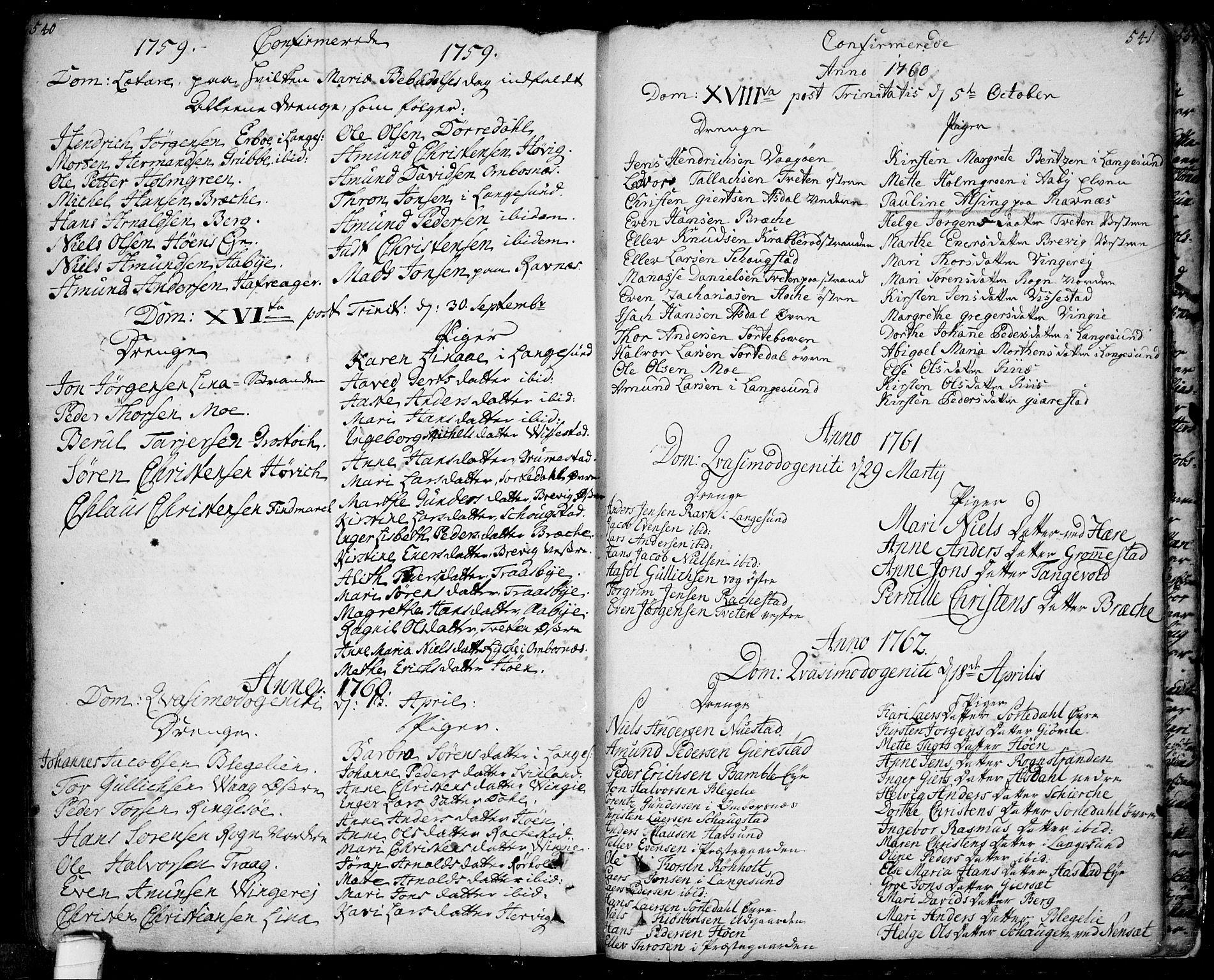 SAKO, Bamble kirkebøker, F/Fa/L0001: Ministerialbok nr. I 1, 1702-1774, s. 540-541