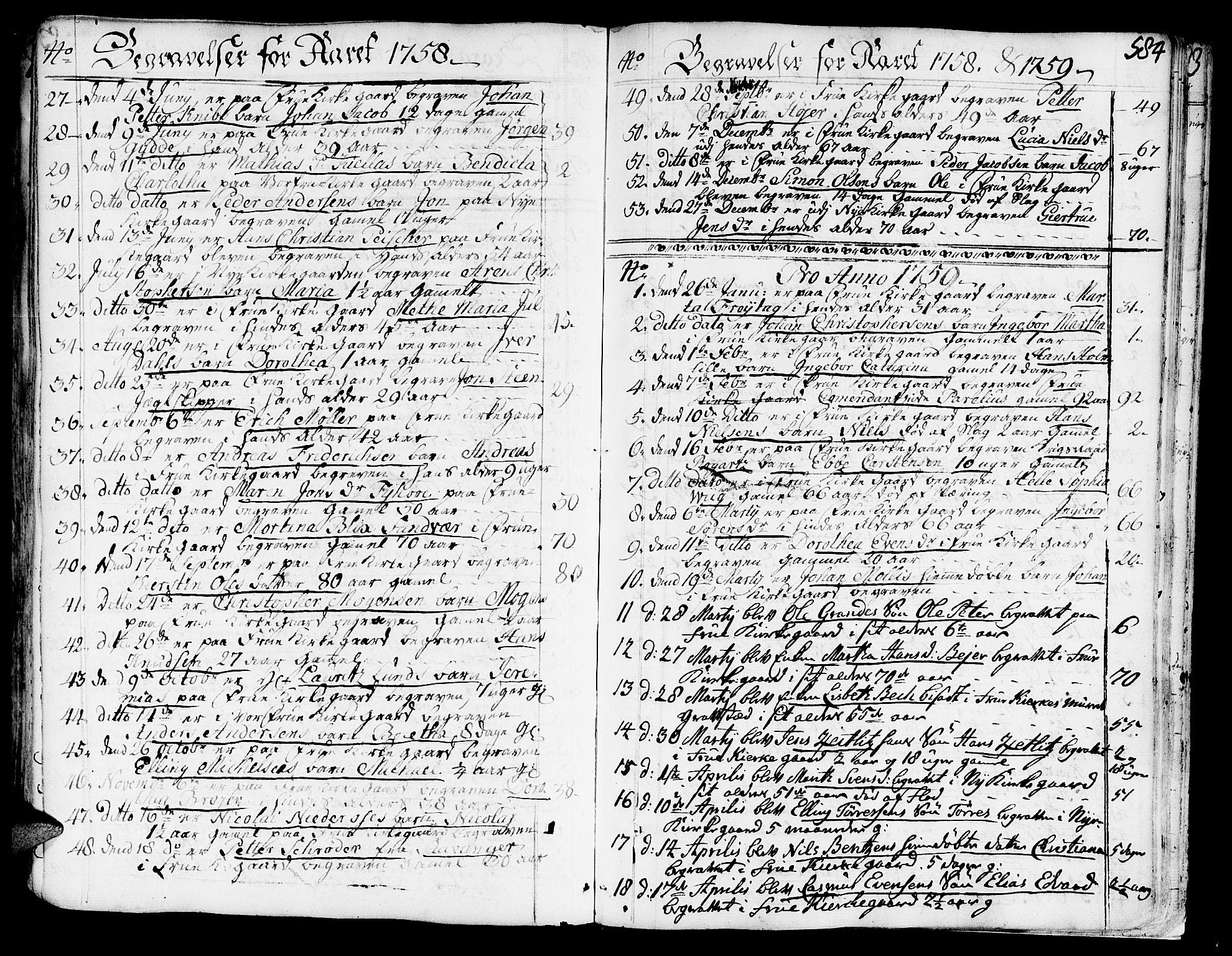 SAT, Ministerialprotokoller, klokkerbøker og fødselsregistre - Sør-Trøndelag, 602/L0103: Ministerialbok nr. 602A01, 1732-1774, s. 584